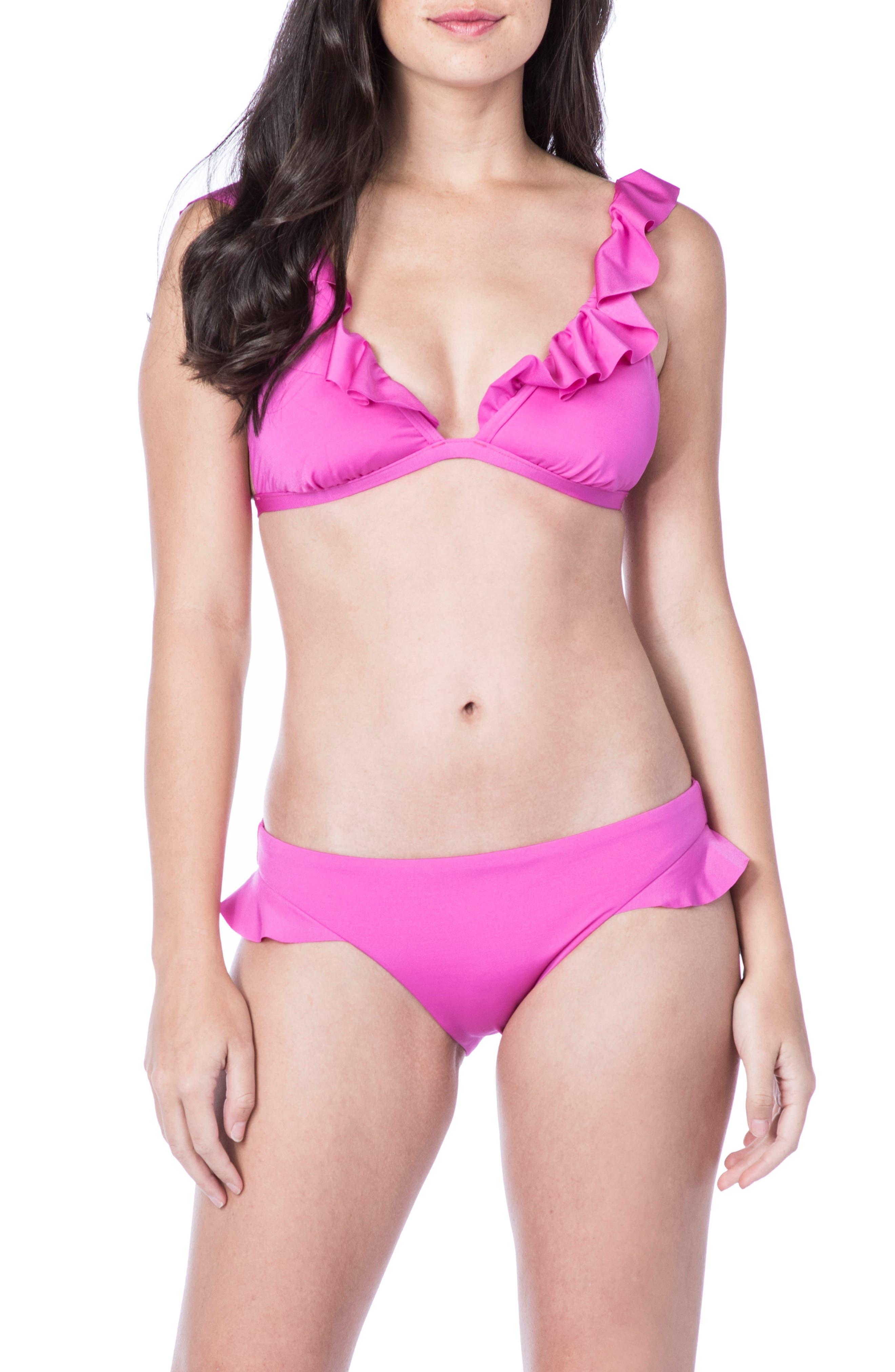 Key Solids Hipster Bikini Bottoms,                             Alternate thumbnail 3, color,                             Shocking Pink