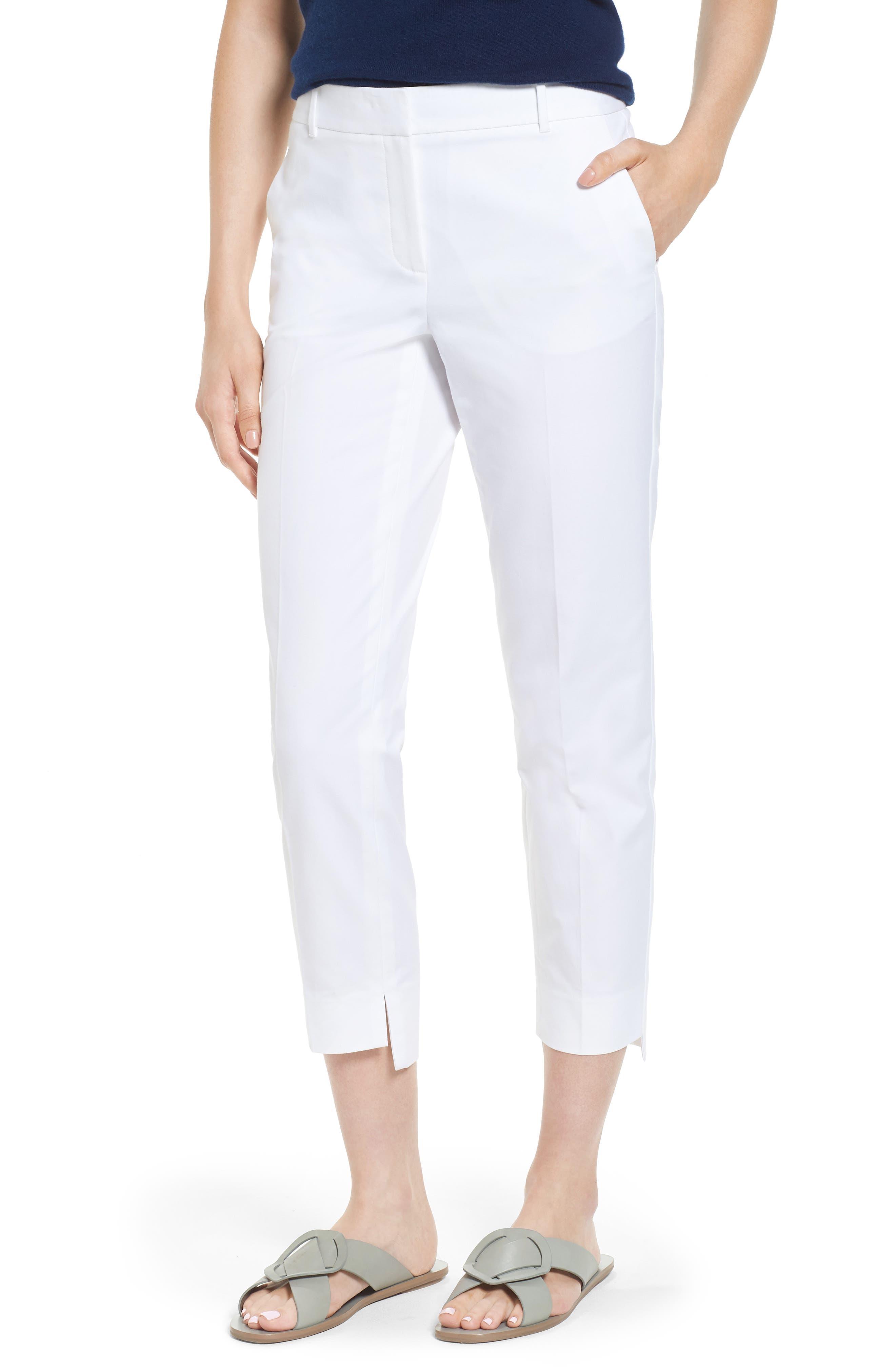 High/Low Crop Pants,                             Main thumbnail 1, color,                             White