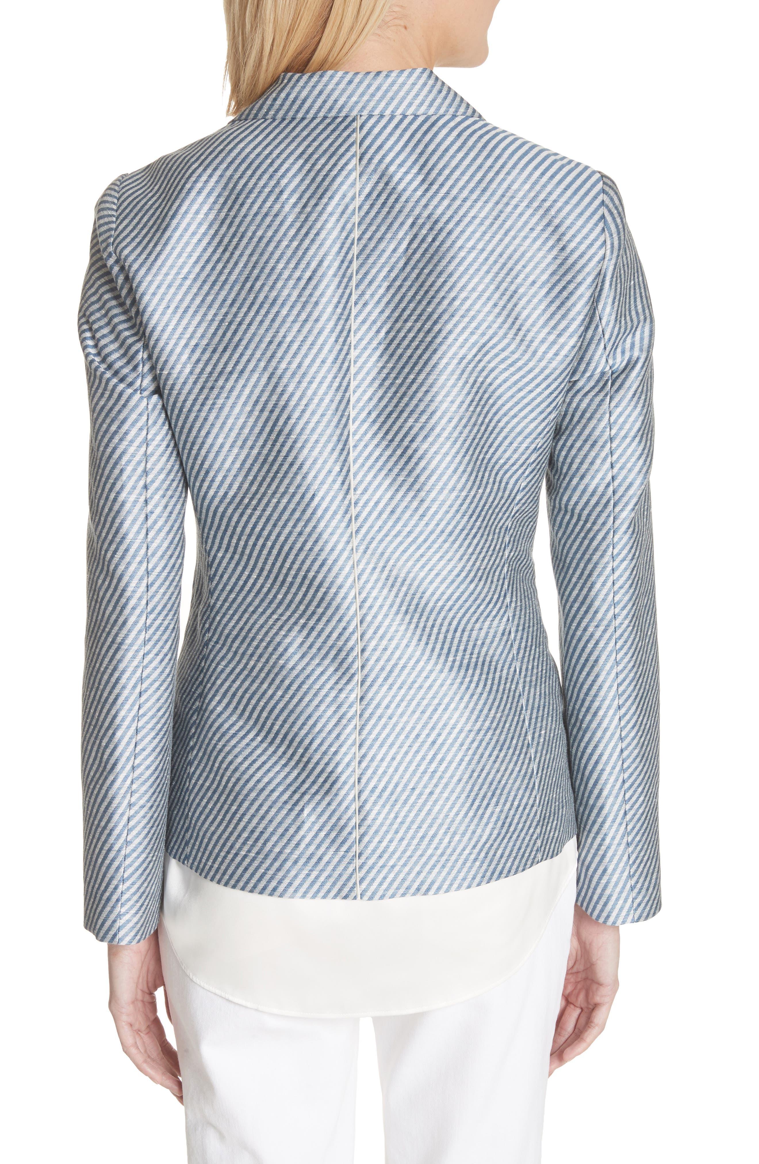 Alternate Image 2  - Lafayette 148 New York Jasmine Stripe Linen Blend Blazer