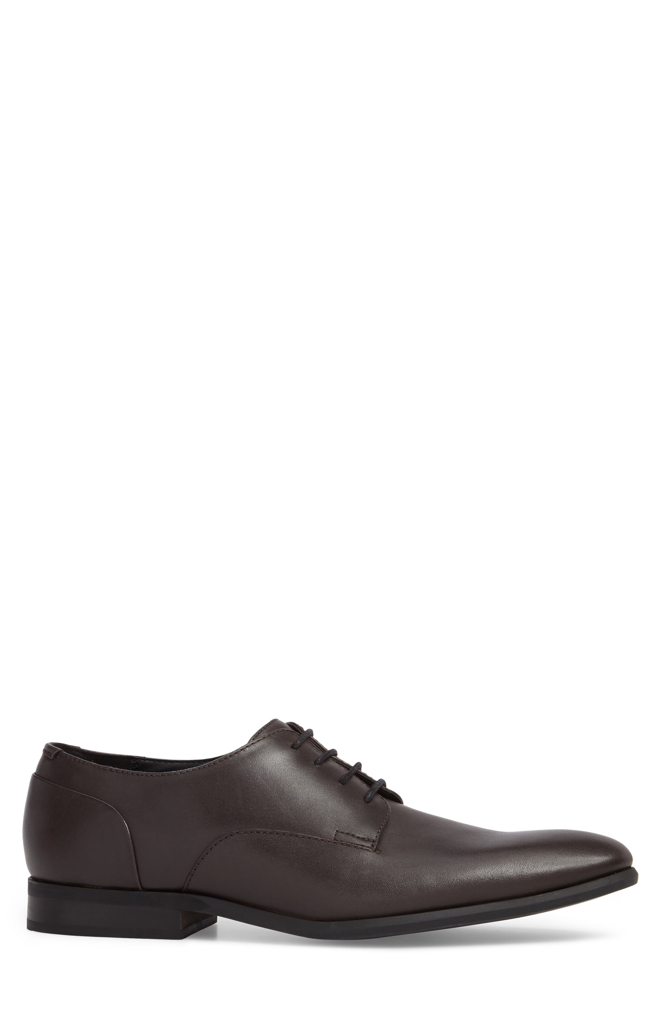 Lucca Plain Toe Derby,                             Alternate thumbnail 3, color,                             Dark Brown Leather