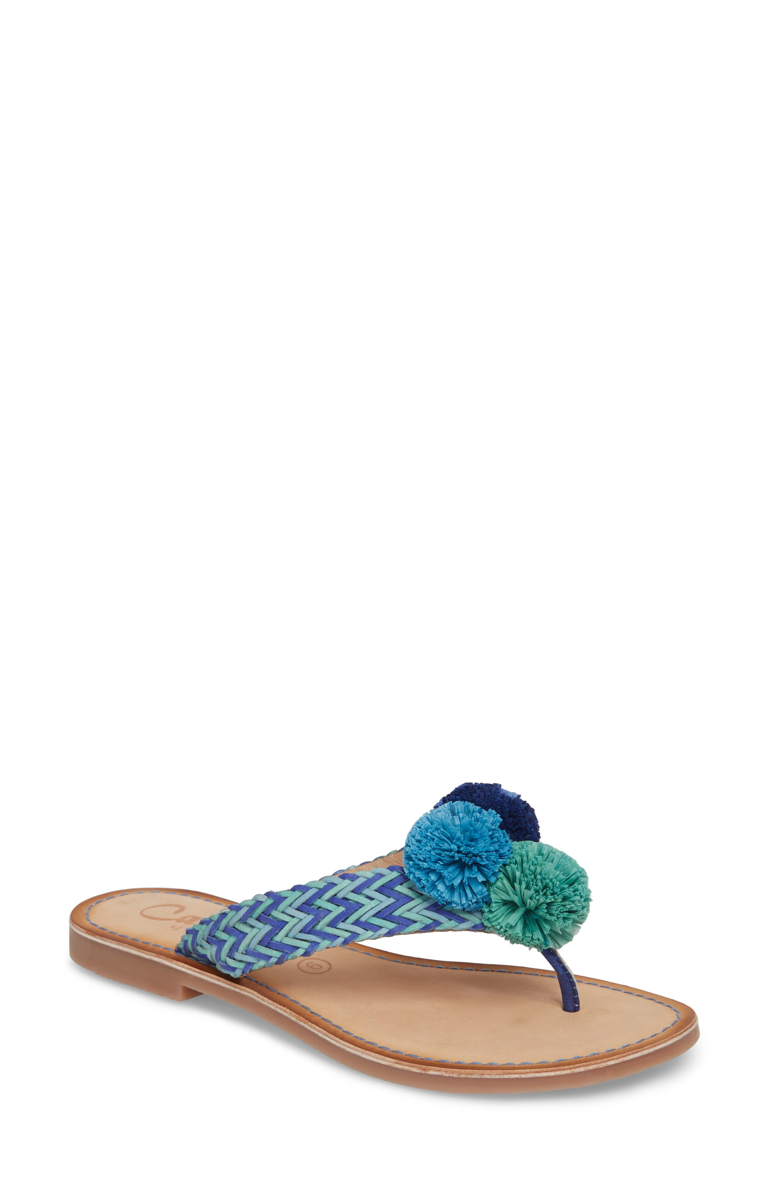 Pomm Flip Flop,                         Main,                         color, Blue Leather