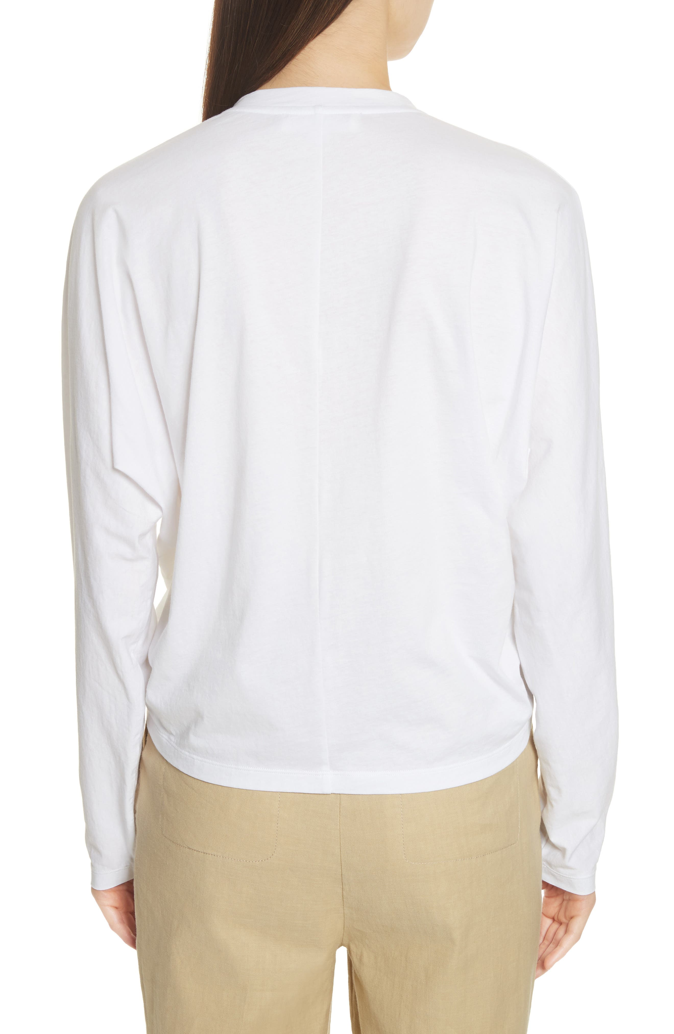 Ruched Front Tee,                             Alternate thumbnail 2, color,                             White
