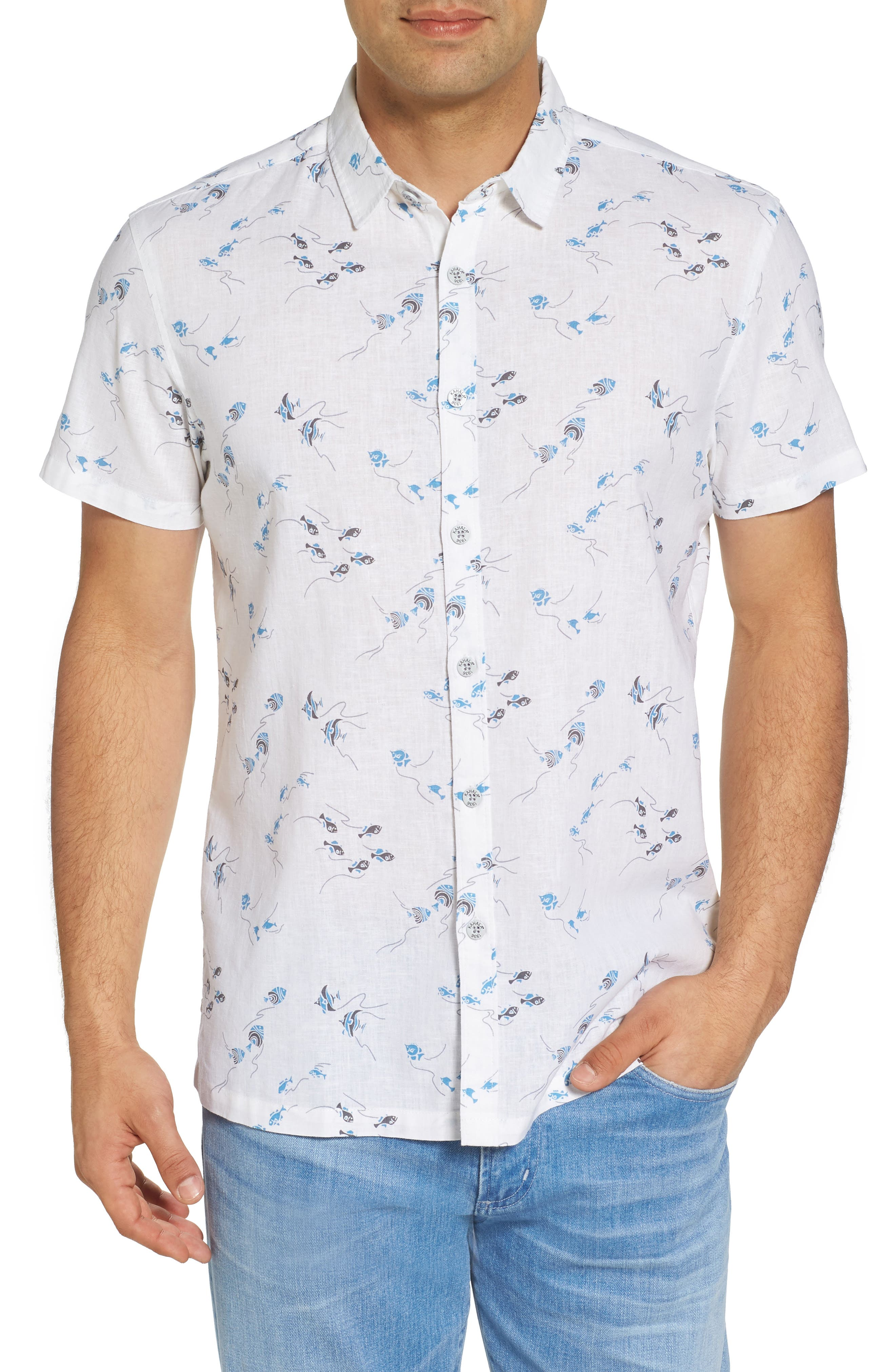 Swim School Standard Fit Linen Blend Camp Shirt,                             Main thumbnail 1, color,                             White