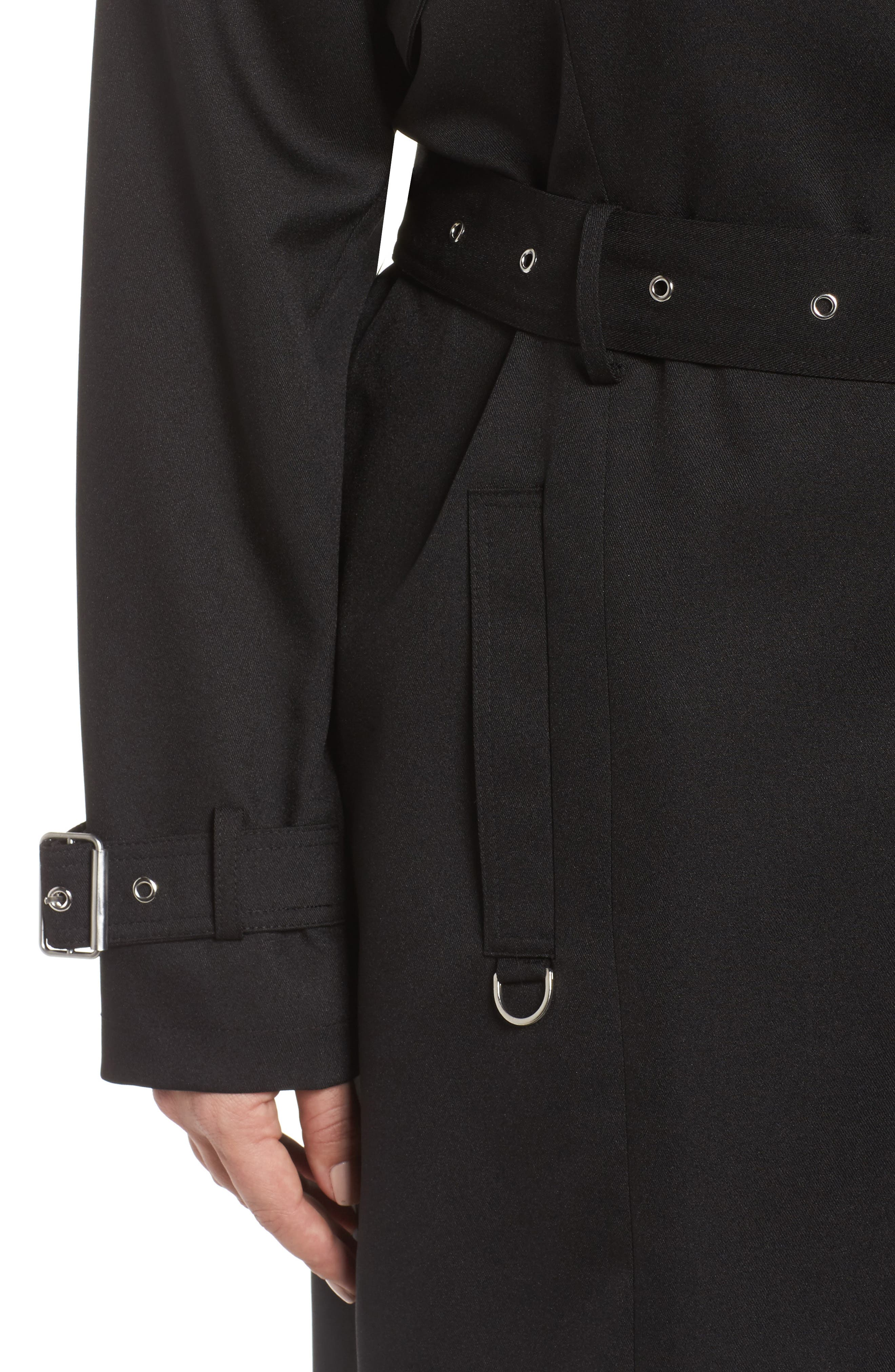 Flowy Belted Trench Coat,                             Alternate thumbnail 4, color,                             Black