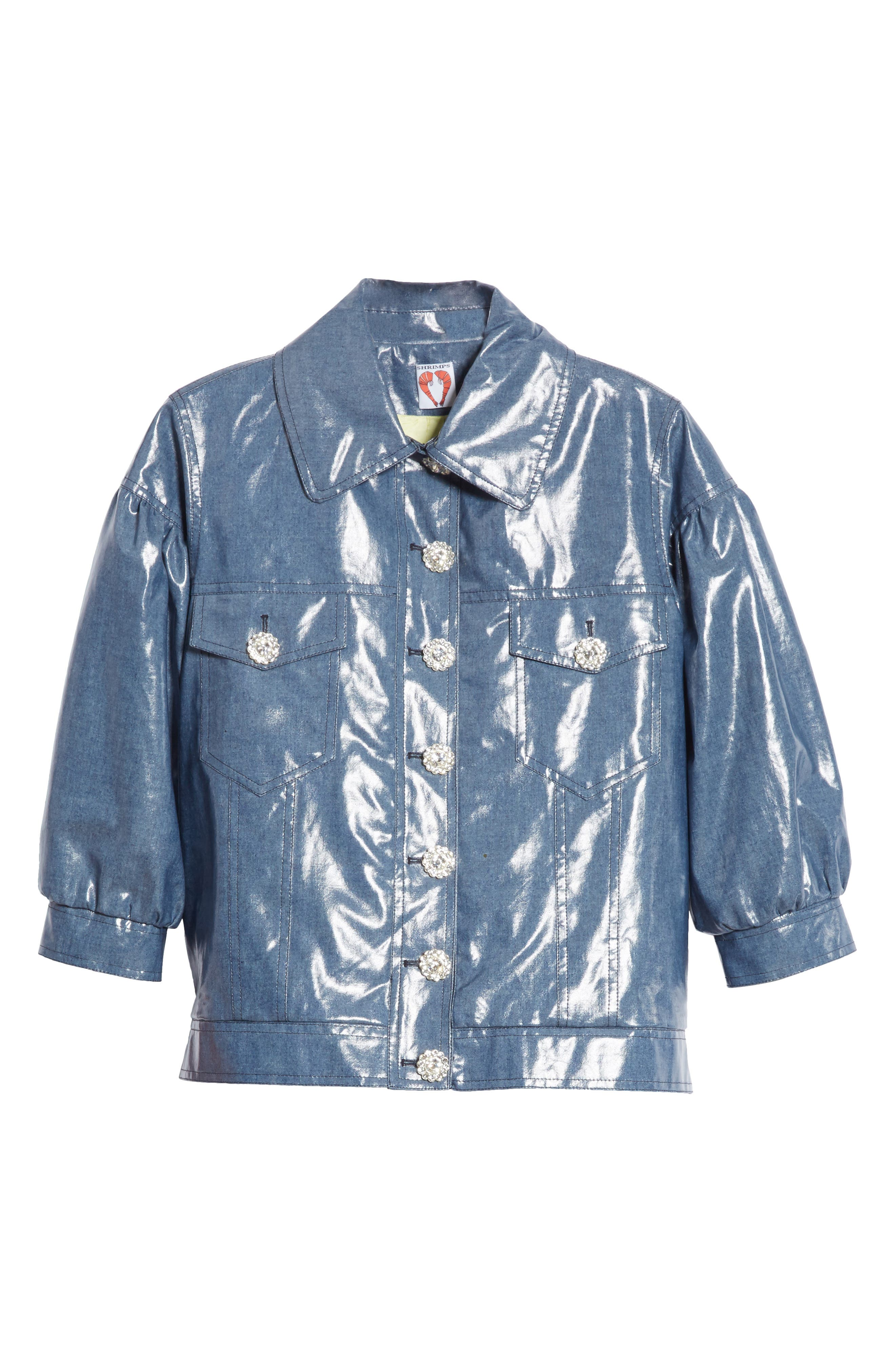 Luca Puff Sleeve Denim Jacket,                             Alternate thumbnail 6, color,                             Navy