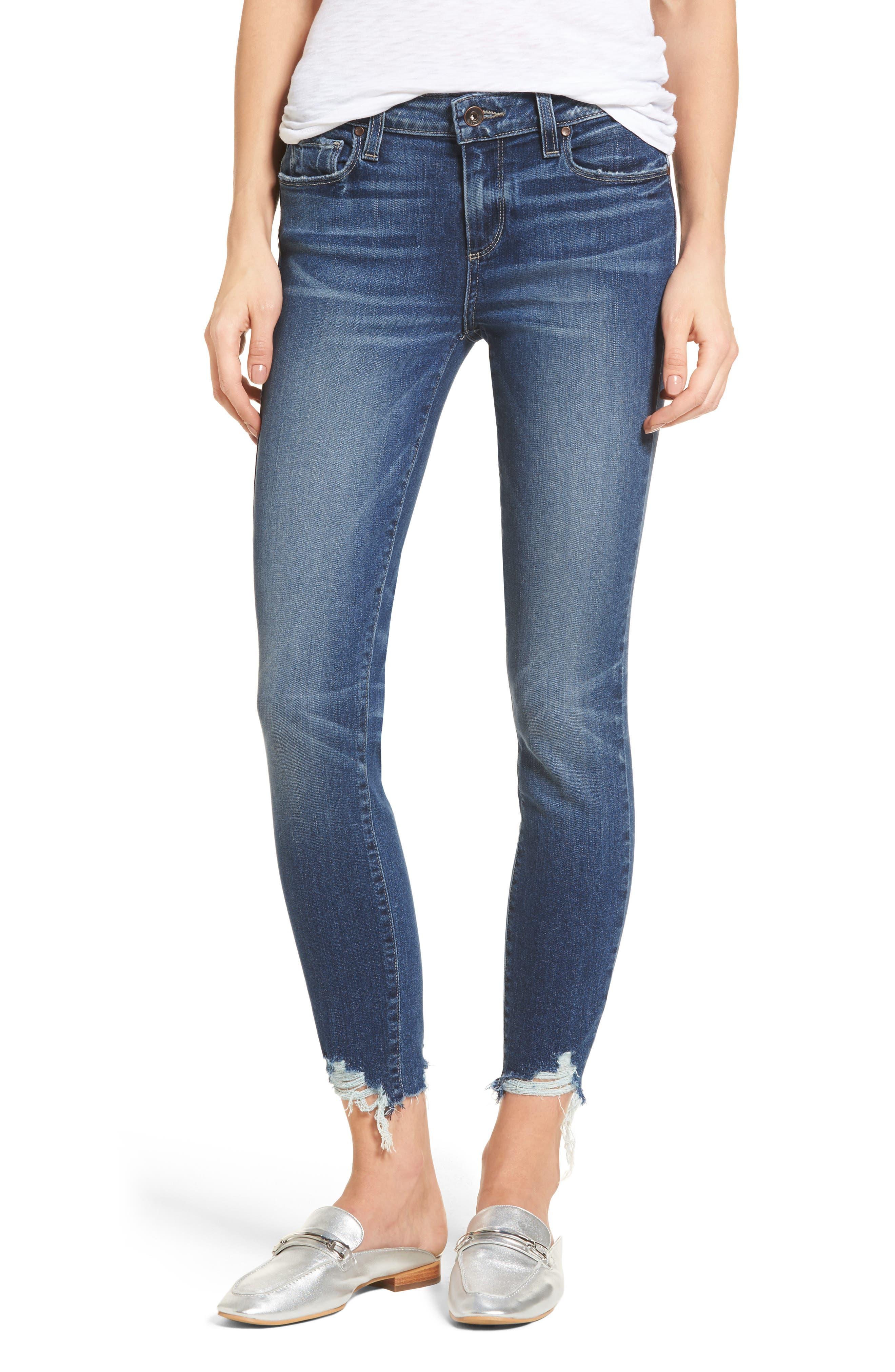 Main Image - PAIGE Transcend Vintage - Verdugo Ankle Skinny Jeans (Malibu Super Distressed) (Petite)