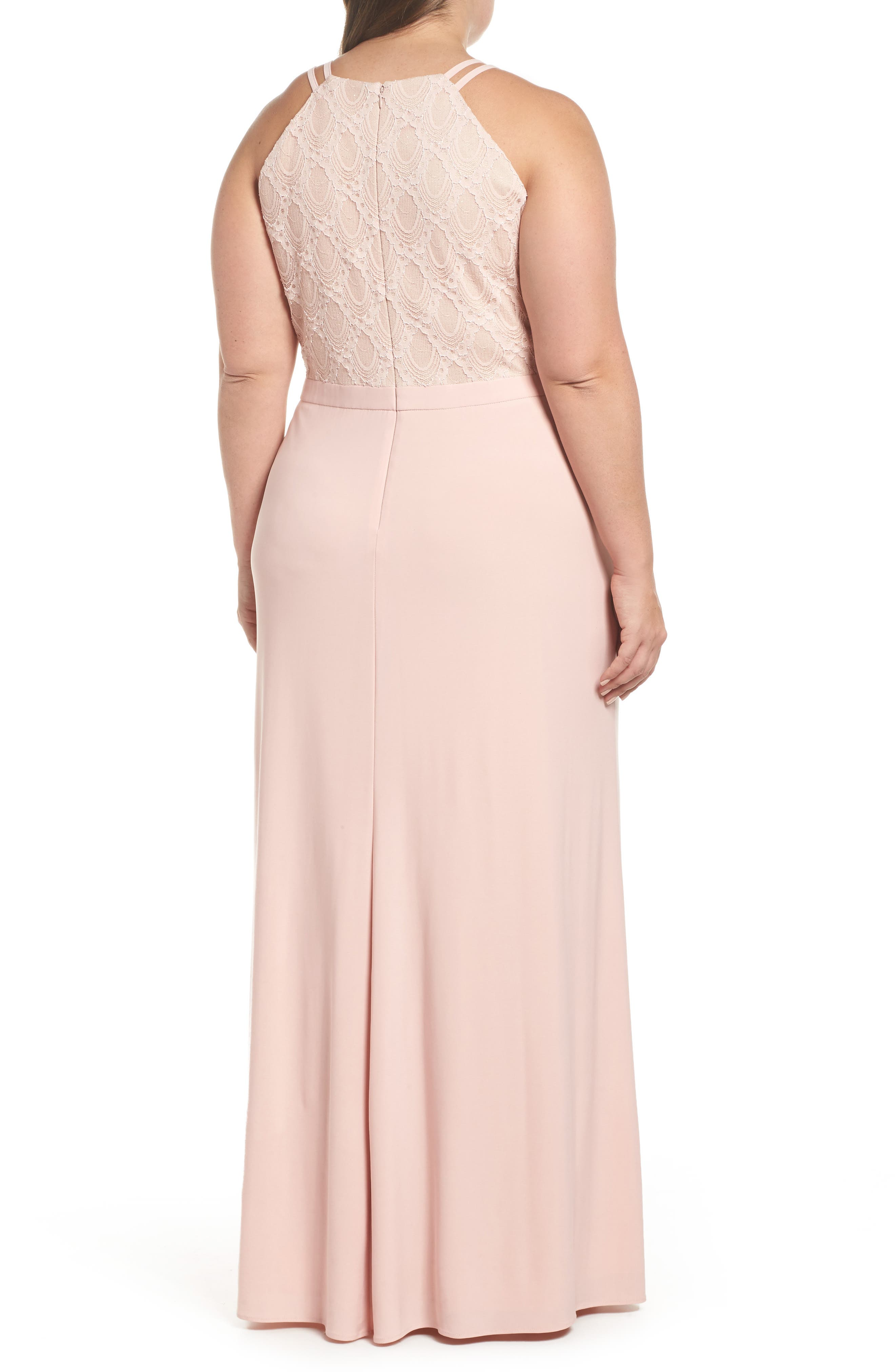 Lace Bodice Gown,                             Alternate thumbnail 2, color,                             Blush/ Nude
