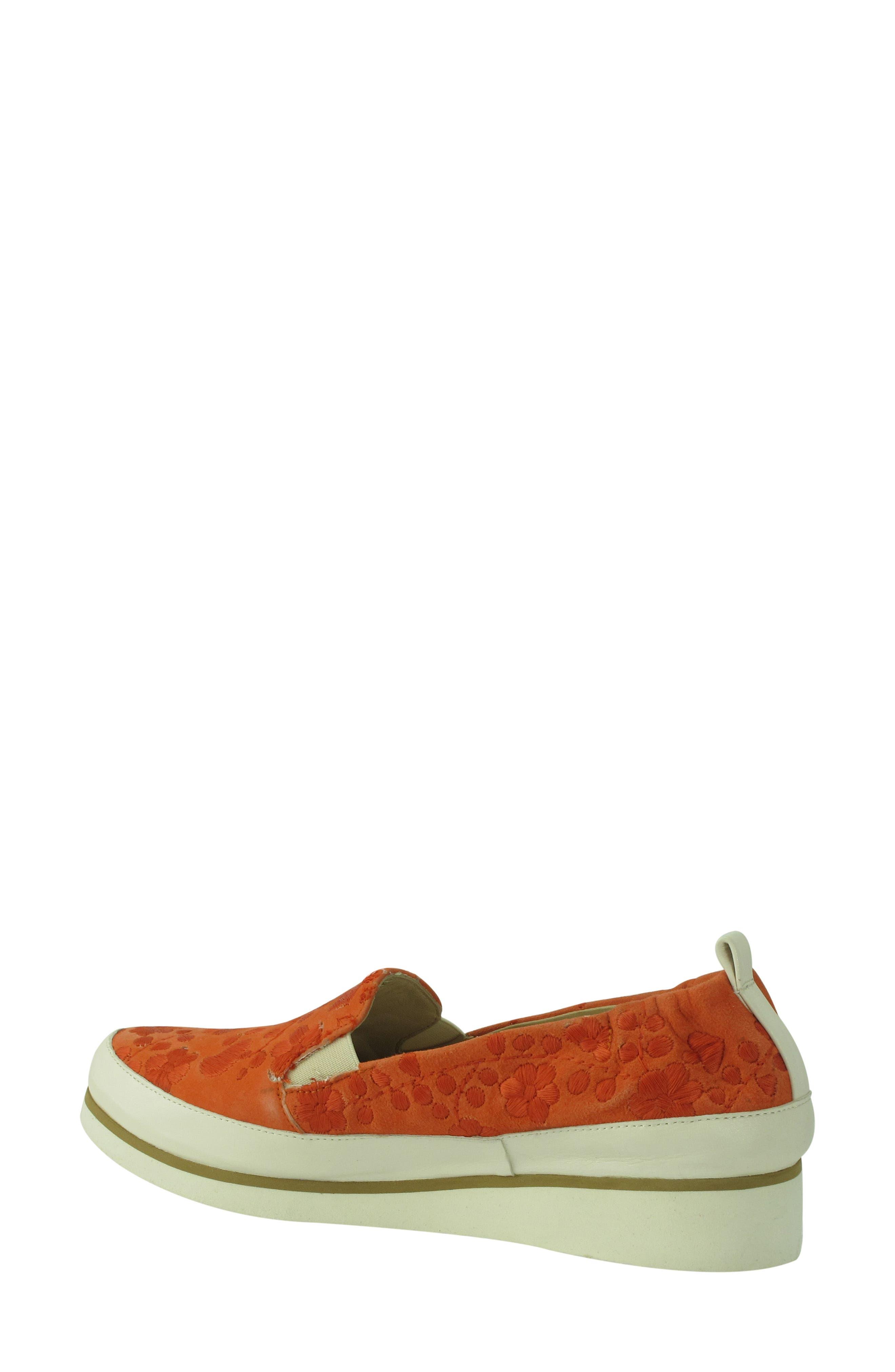 Nell Slip-On Sneaker,                             Alternate thumbnail 2, color,                             Tangerine Suede