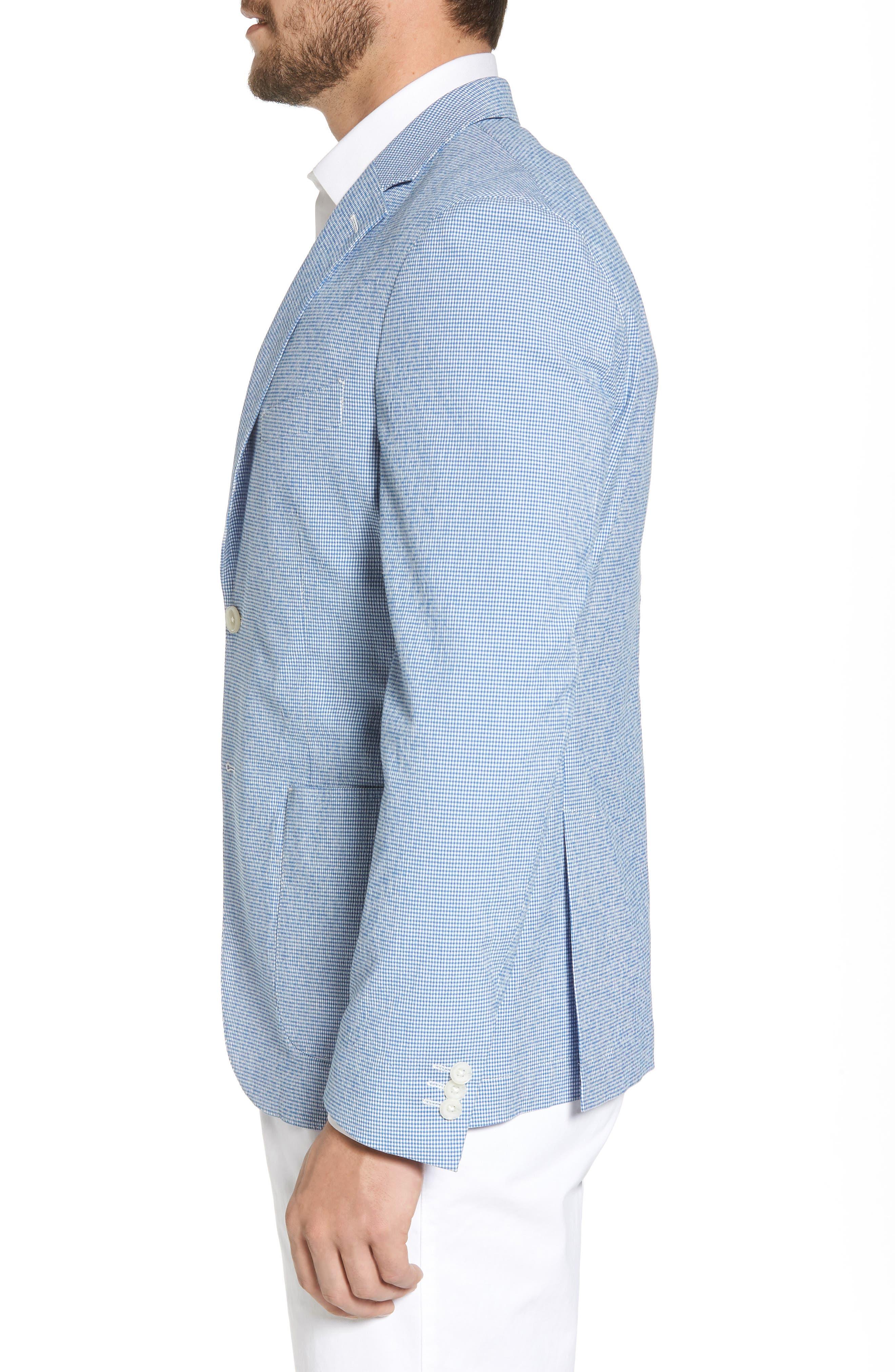 Slim Fit Microcheck Soft Sport Coat,                             Alternate thumbnail 3, color,                             Blue