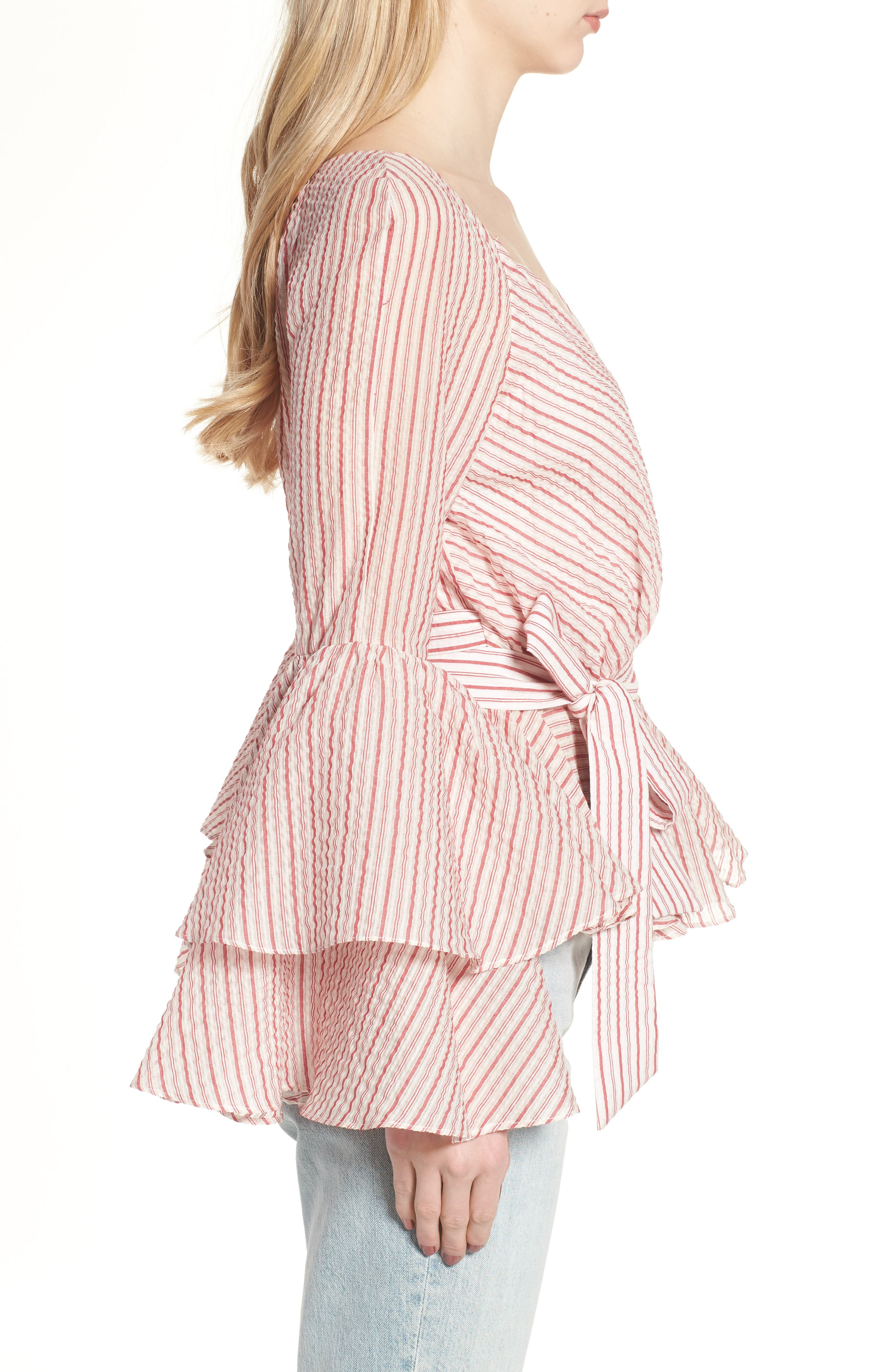 Melly Stripe Top,                             Alternate thumbnail 3, color,                             Red Multi