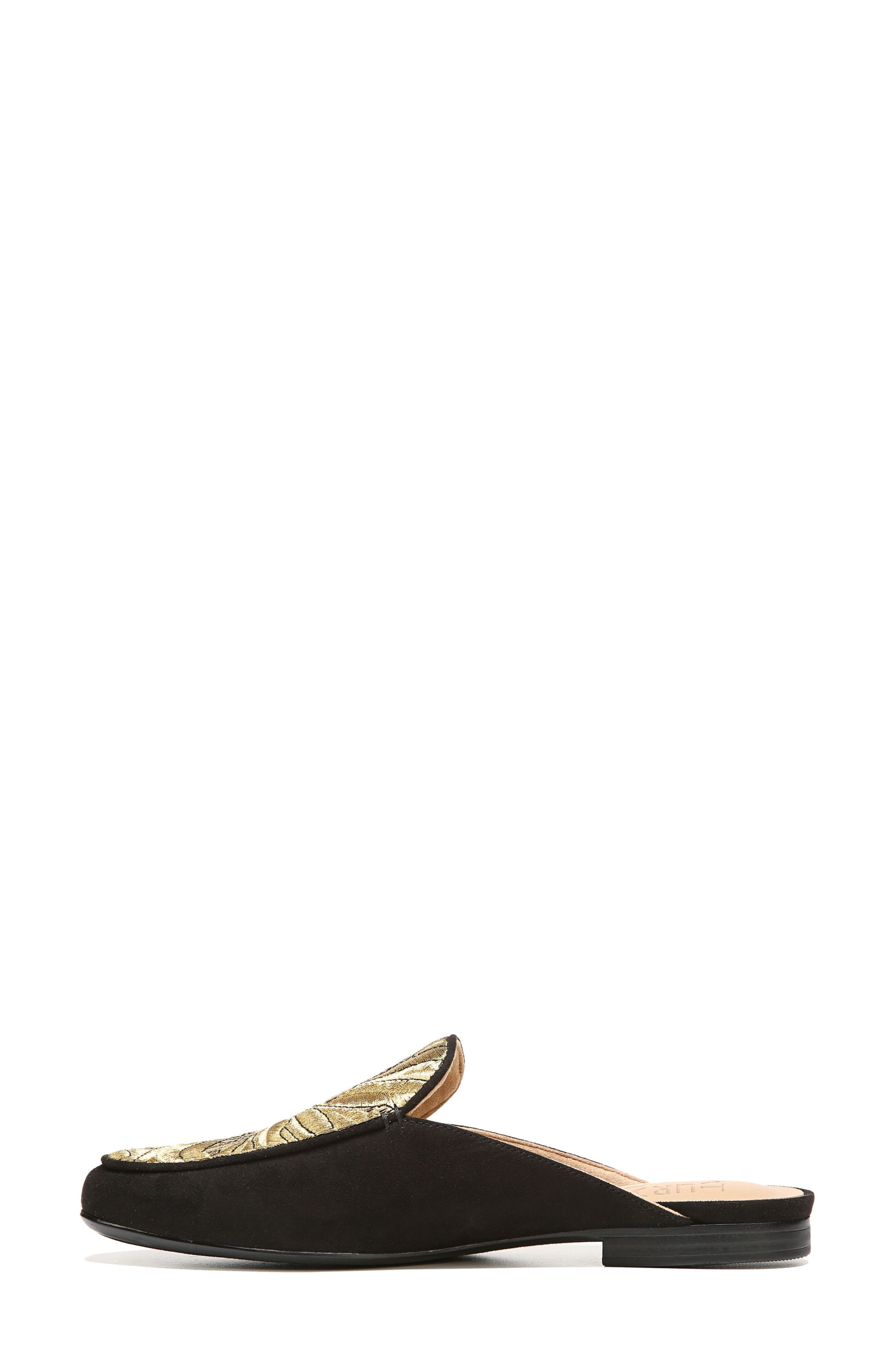 Eden II Embroidered Mule,                             Alternate thumbnail 3, color,                             Black/ Gold Leather