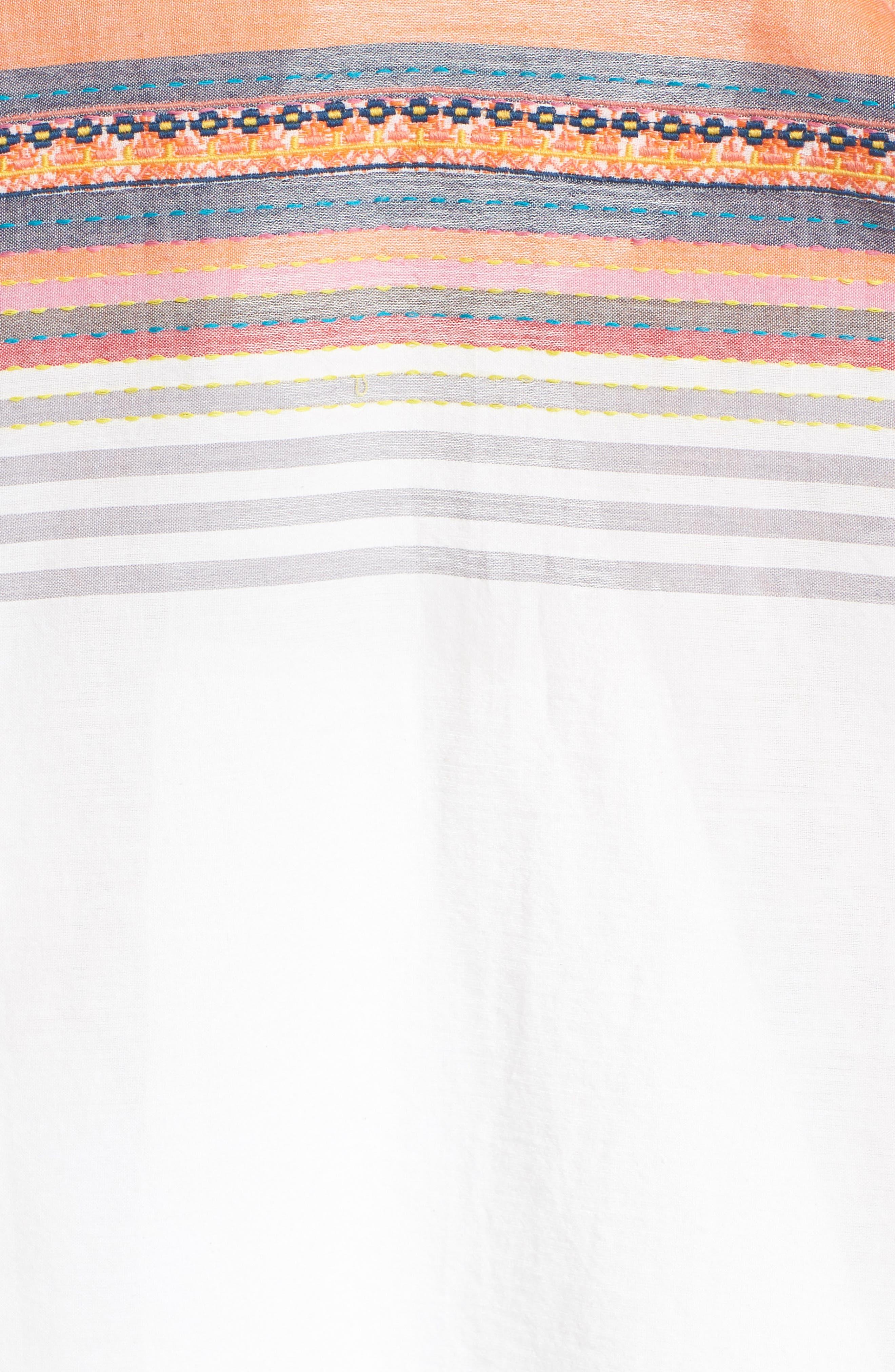 Embroidered Cotton Sleeveless Blouse,                             Alternate thumbnail 4, color,                             White- Grey