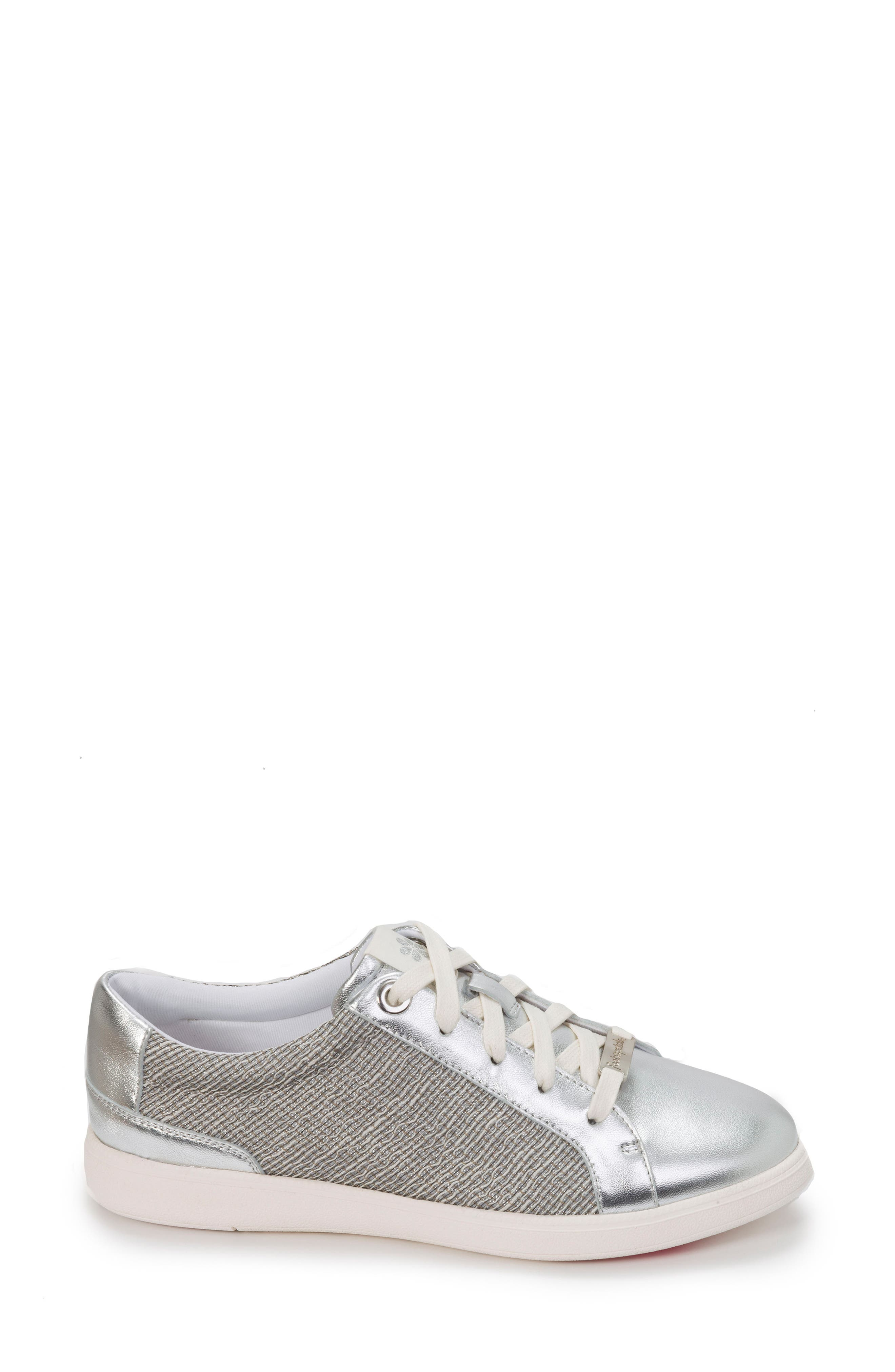 Andi Sneaker,                             Alternate thumbnail 3, color,                             Silver Leather