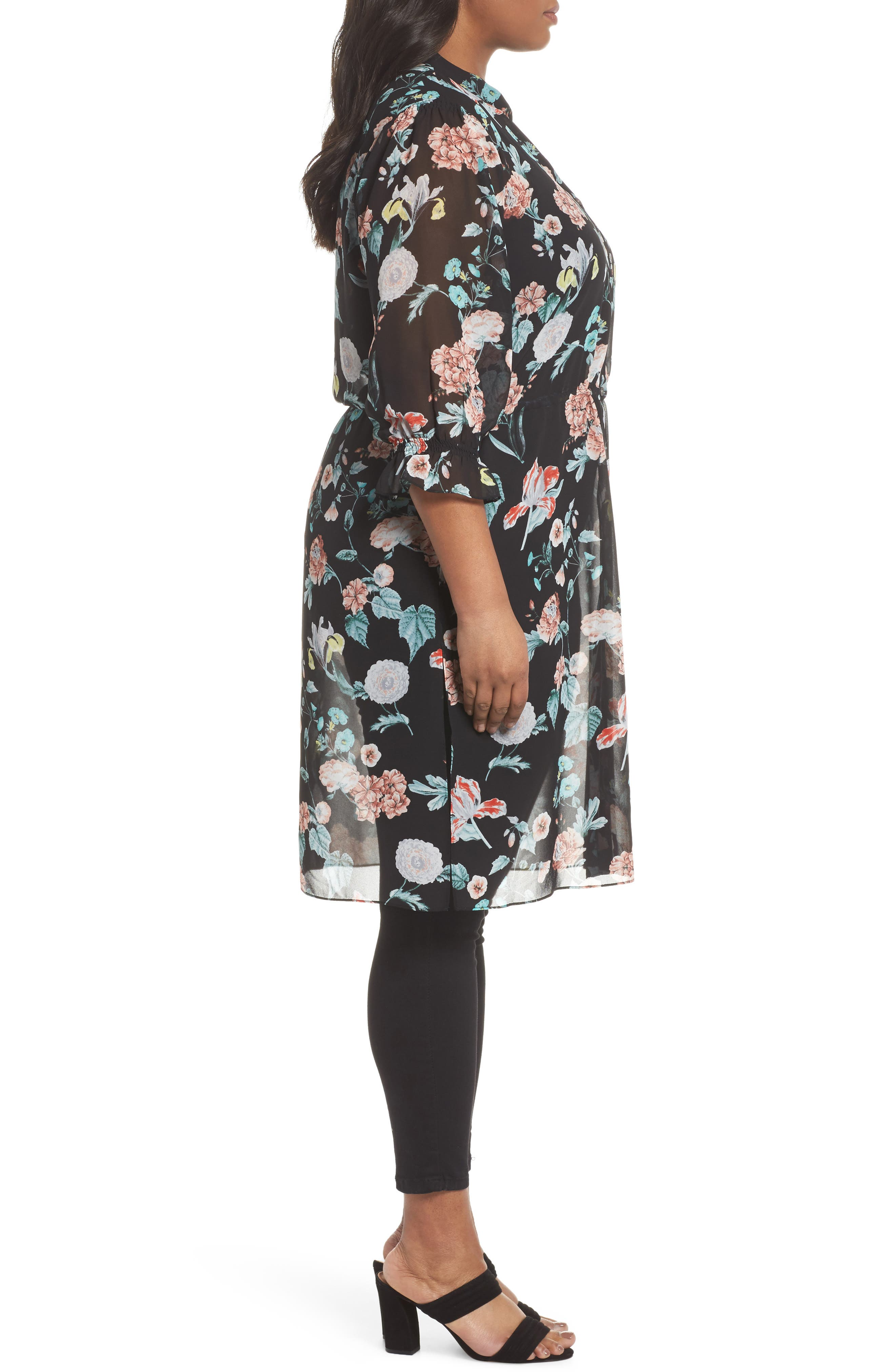 Faded Blooms Tunic Dress,                             Alternate thumbnail 3, color,                             Rich Black
