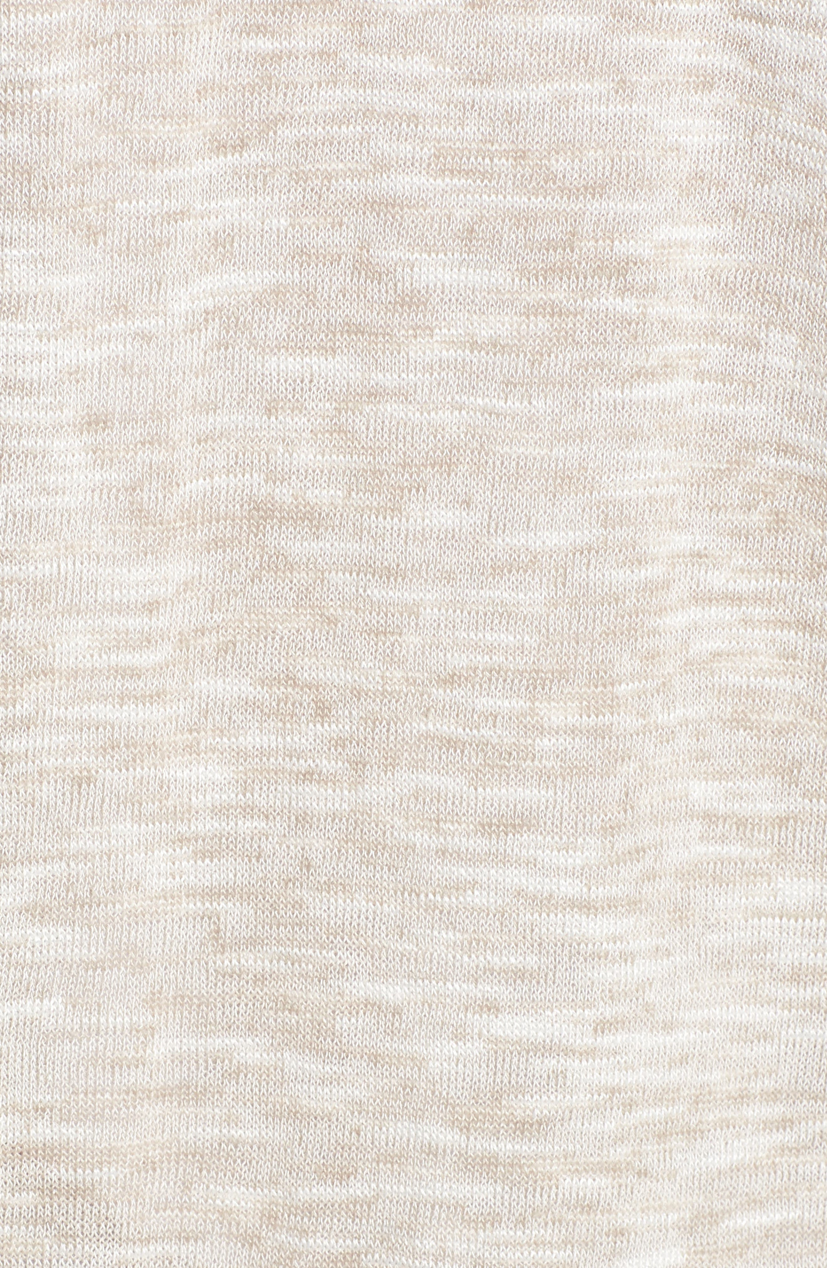 Ruched Sleeve Cardigan,                             Alternate thumbnail 5, color,                             Beige Linen- White Slubs