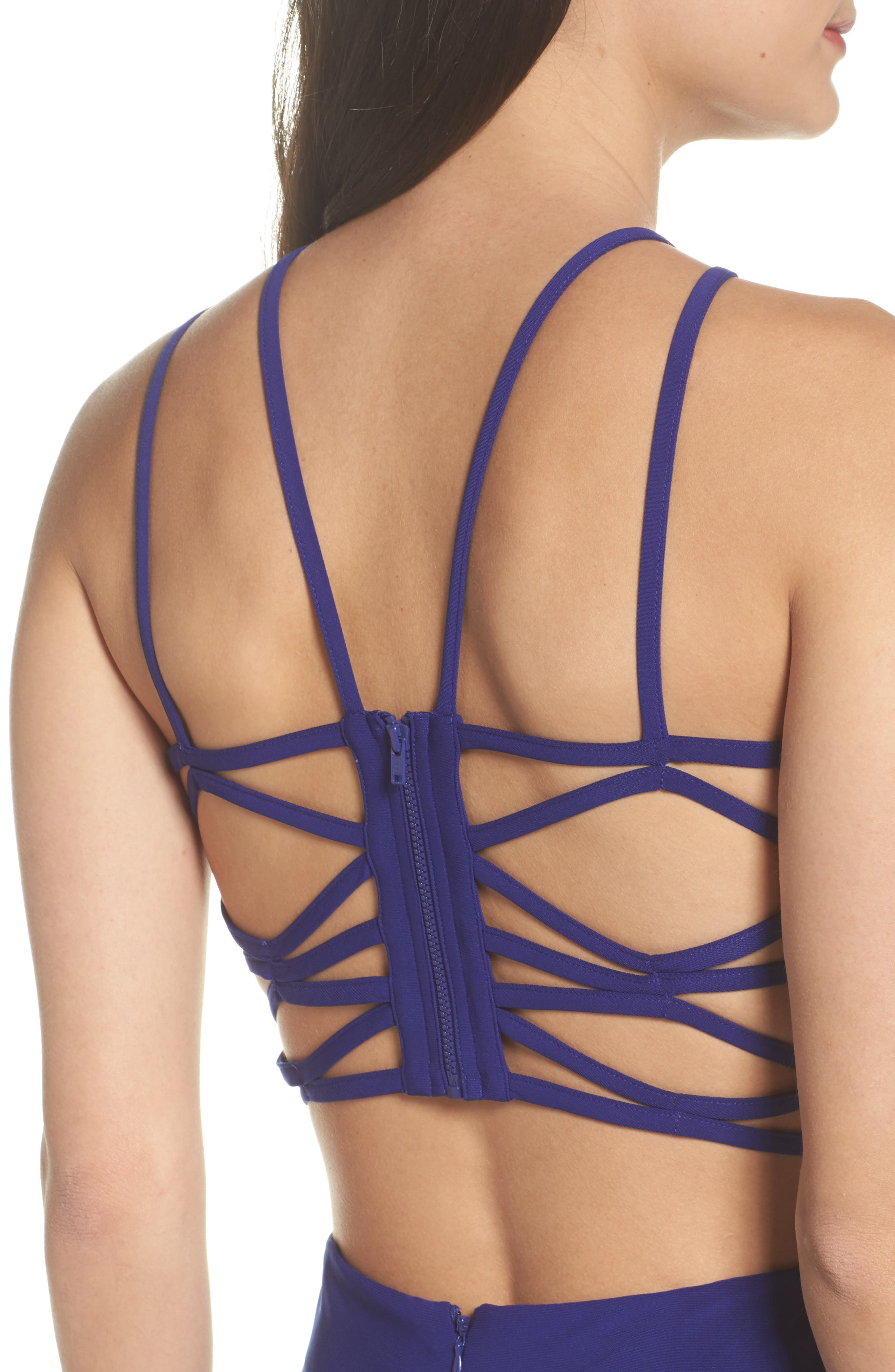 Strappy Trumpet Gown,                             Alternate thumbnail 4, color,                             Electric Blue