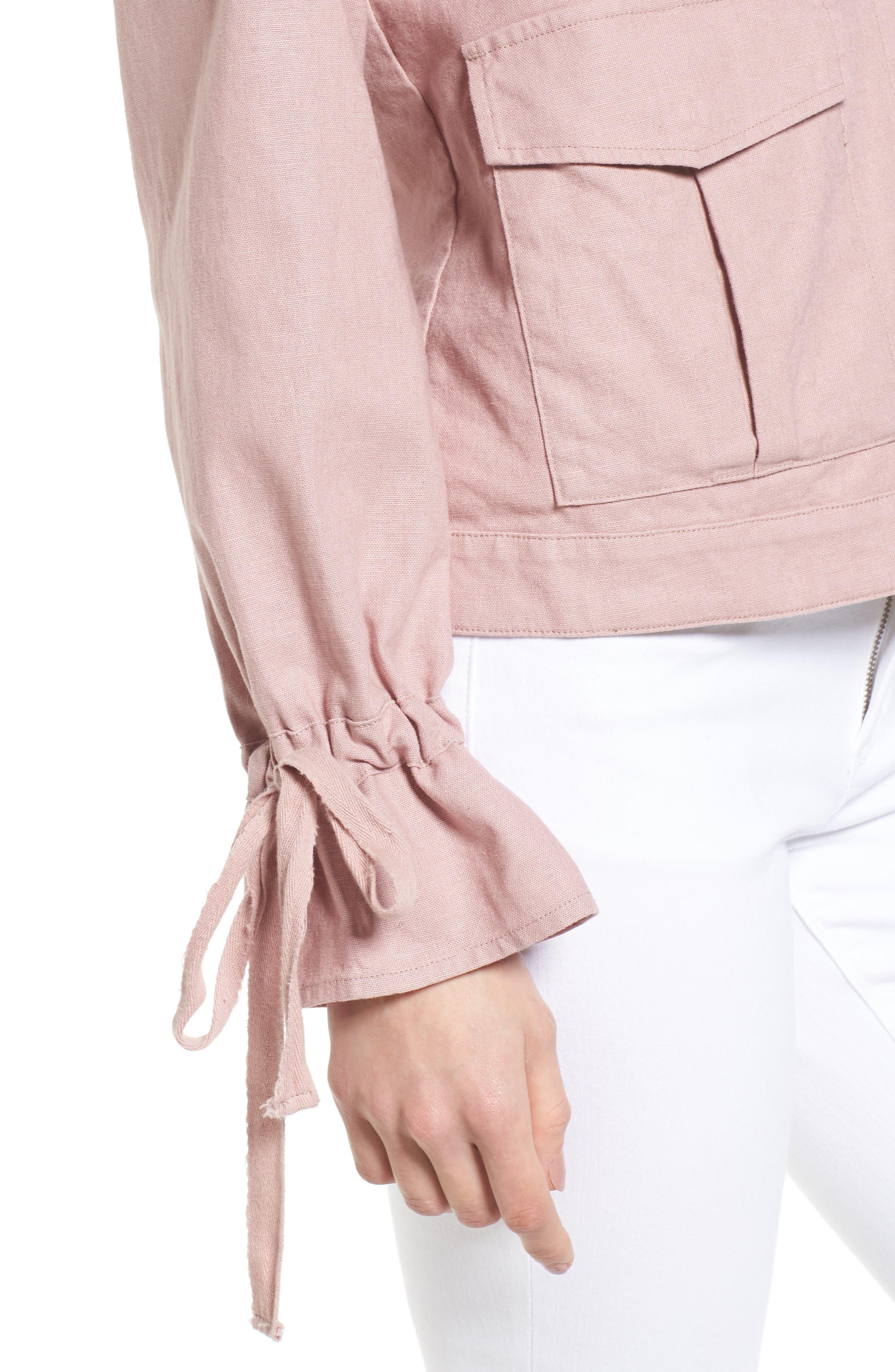 Tie Sleeve Linen & Cotton Jacket,                             Alternate thumbnail 4, color,                             Pink Adobe