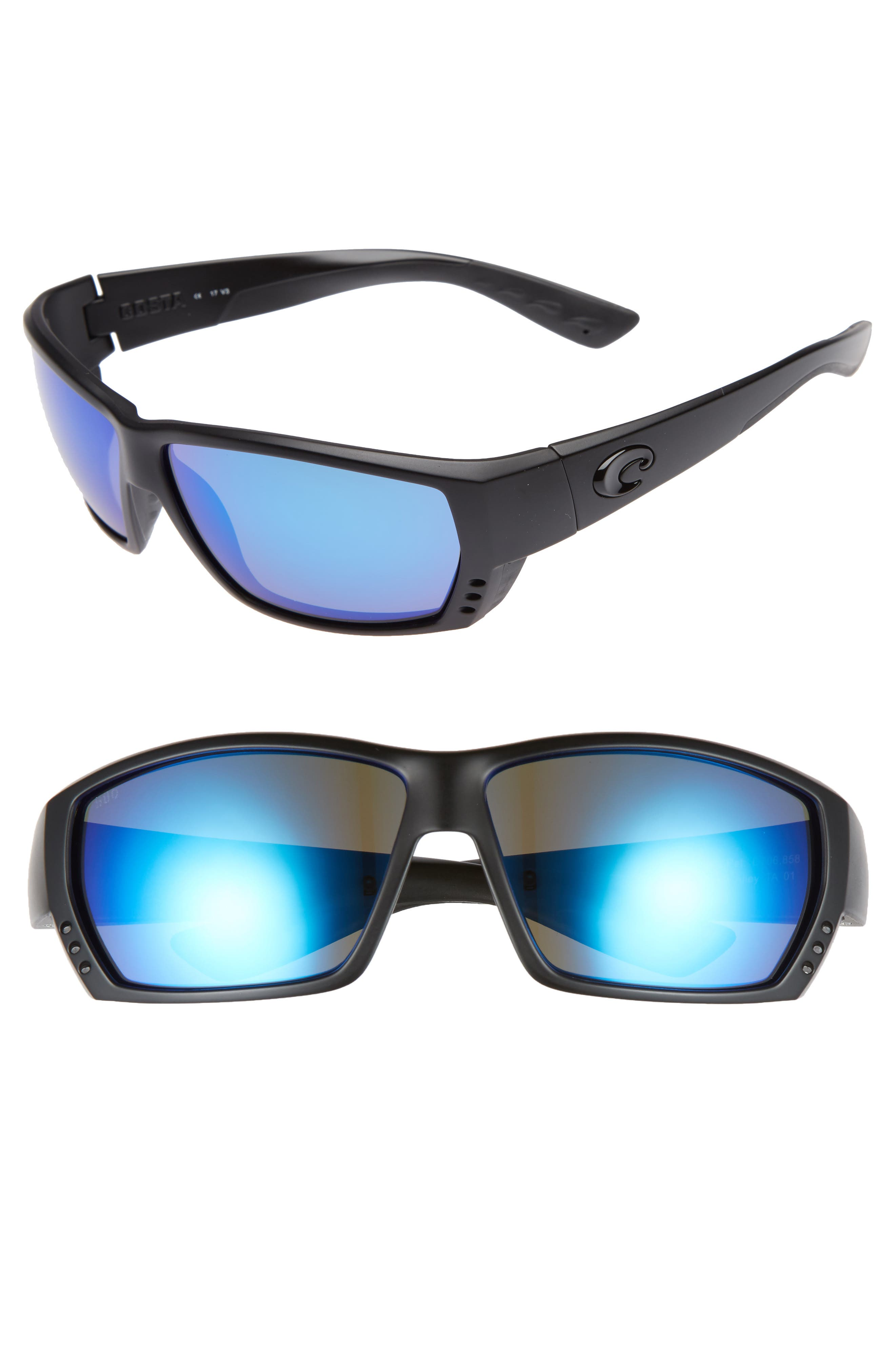Tuna Alley 60mm Polarized Sunglasses,                             Main thumbnail 1, color,                             Blackout/ Blue Mirror