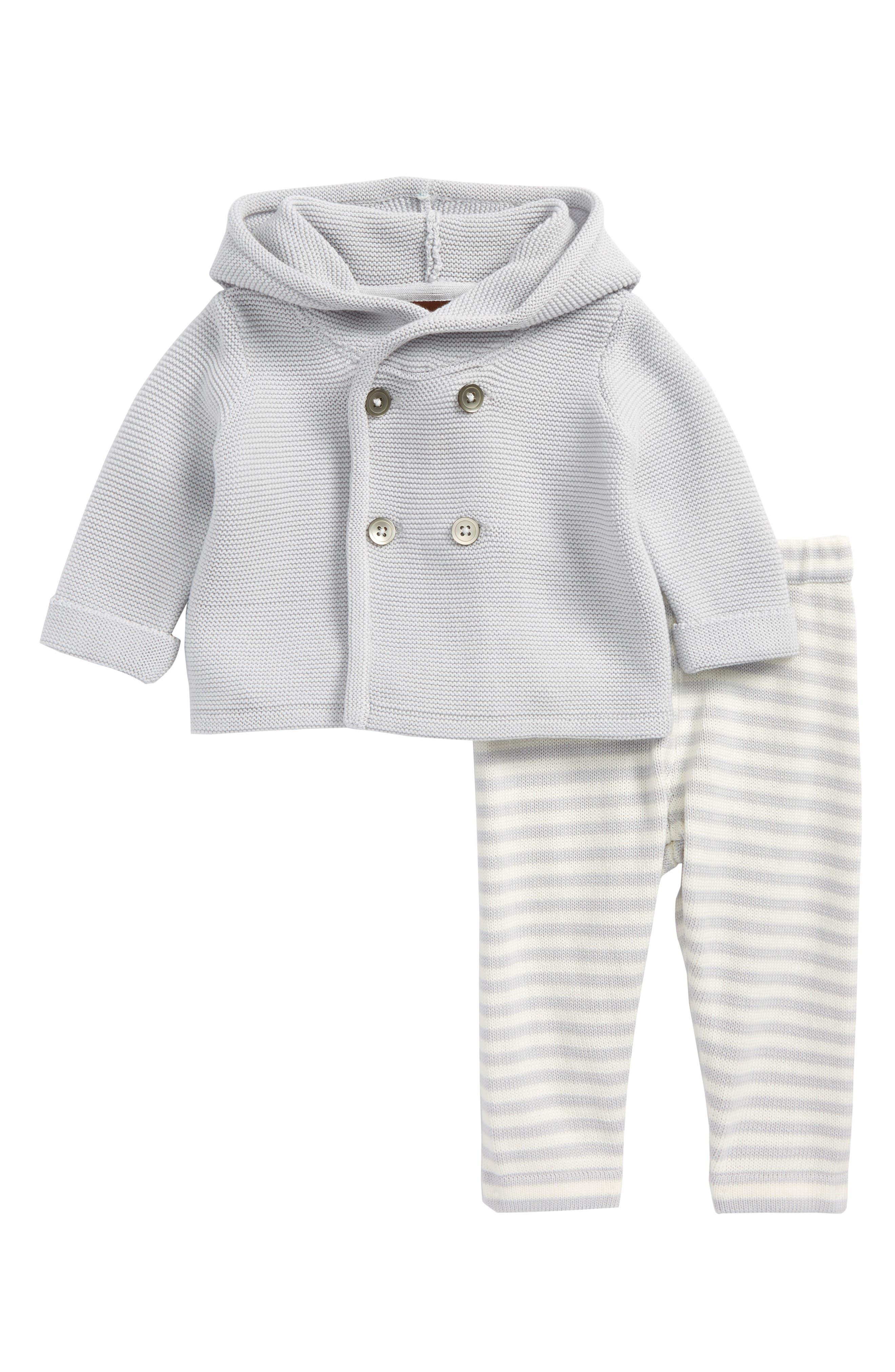 Hooded Knit Jacket & Pants Set,                             Main thumbnail 1, color,                             Sterling