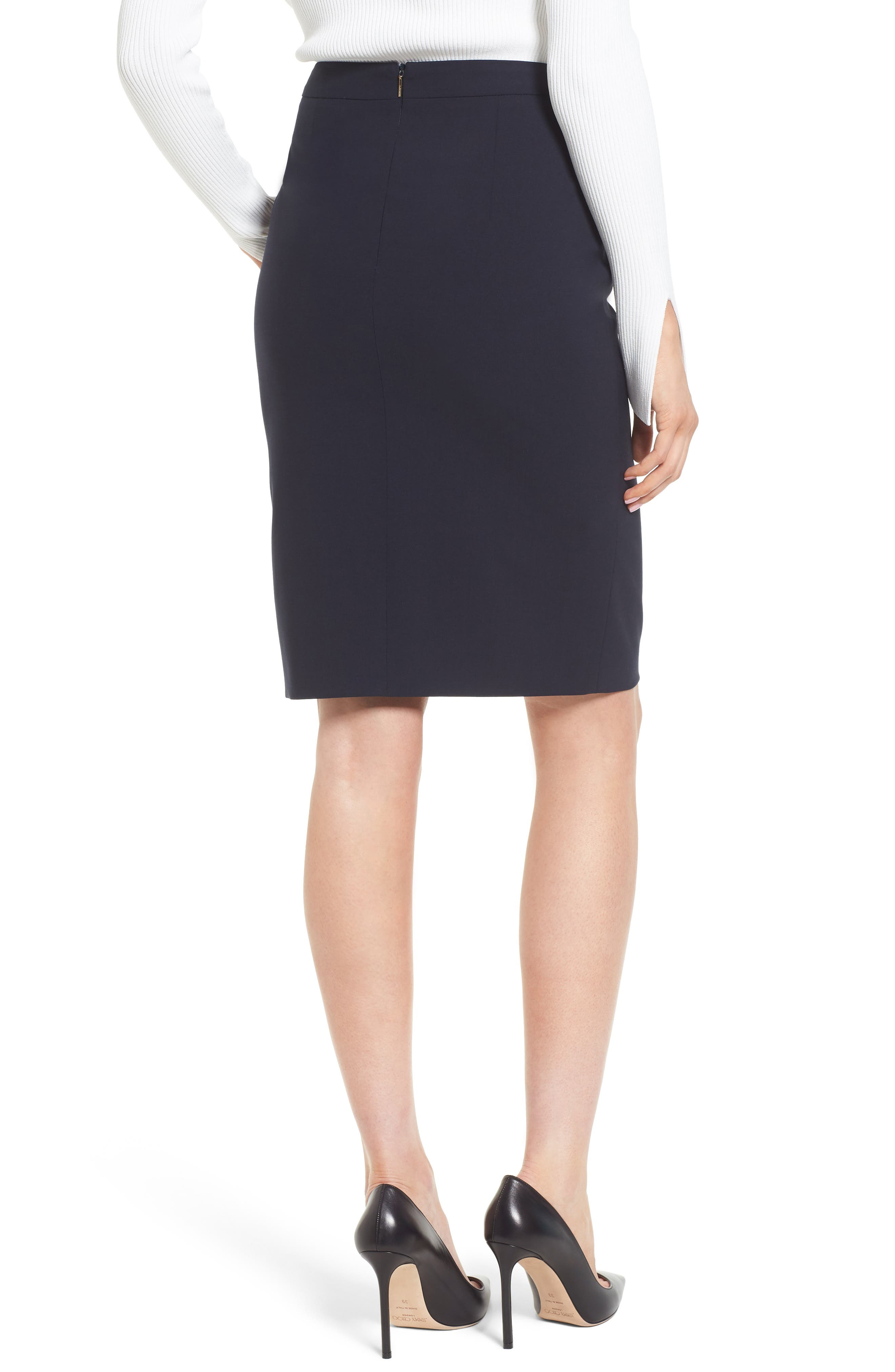 Volania Stretch Wool Side Slit Pencil Skirt,                             Alternate thumbnail 2, color,                             Navy