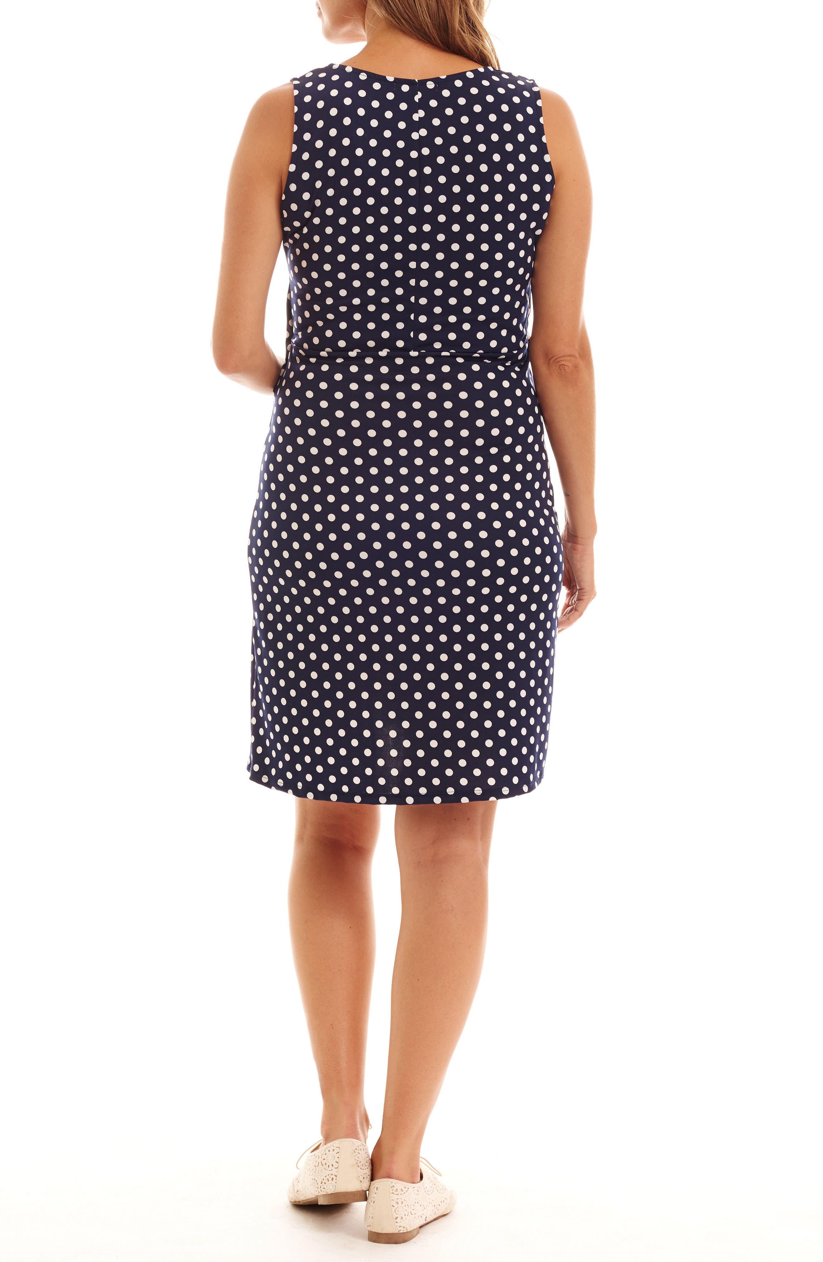 Tobin Print Faux Wrap Maternity/Nursing Dress,                             Alternate thumbnail 2, color,                             Navy Dot