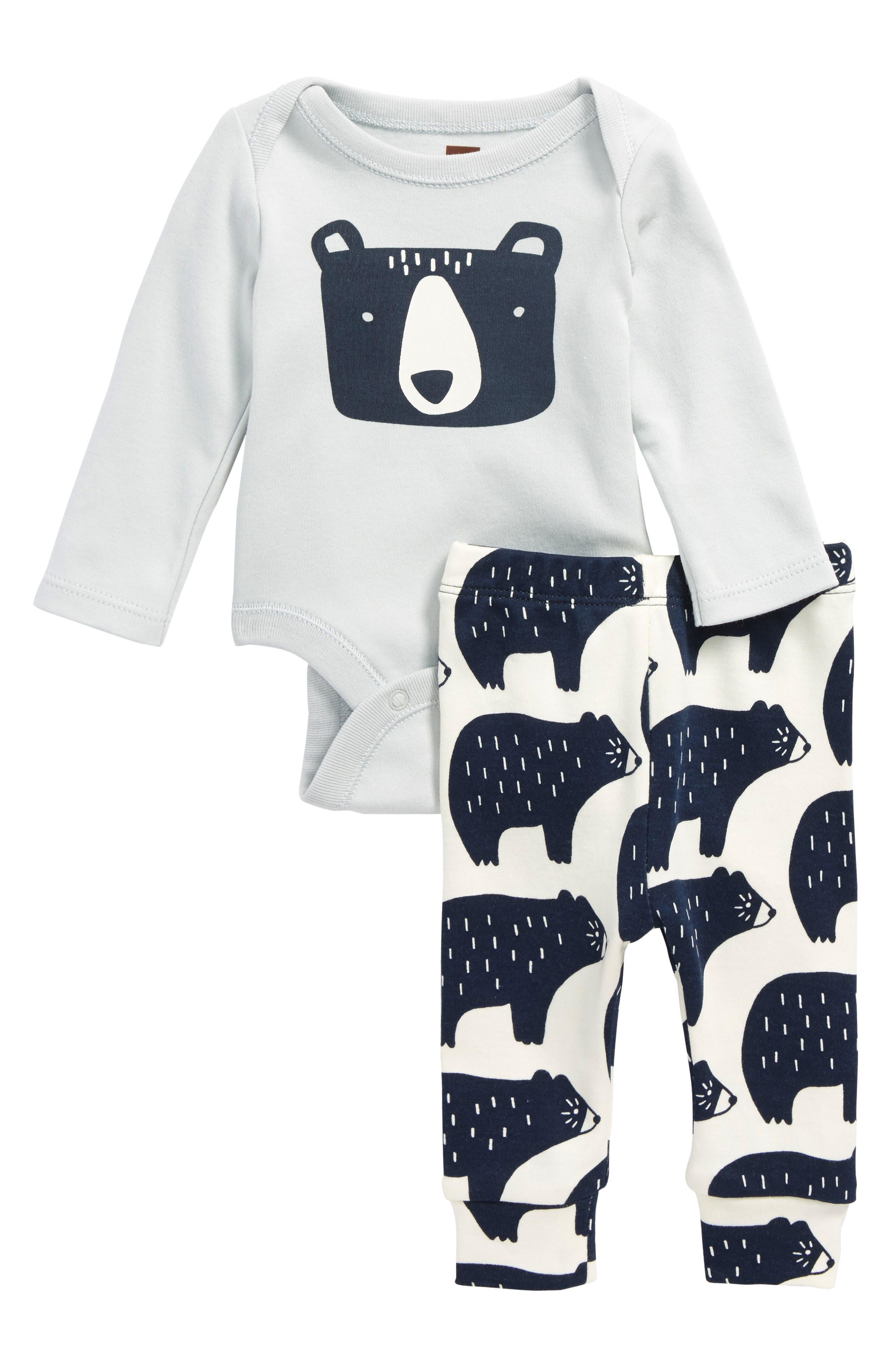 Tea Collection Bear Bodysuit & Pants Set (Baby Boys)