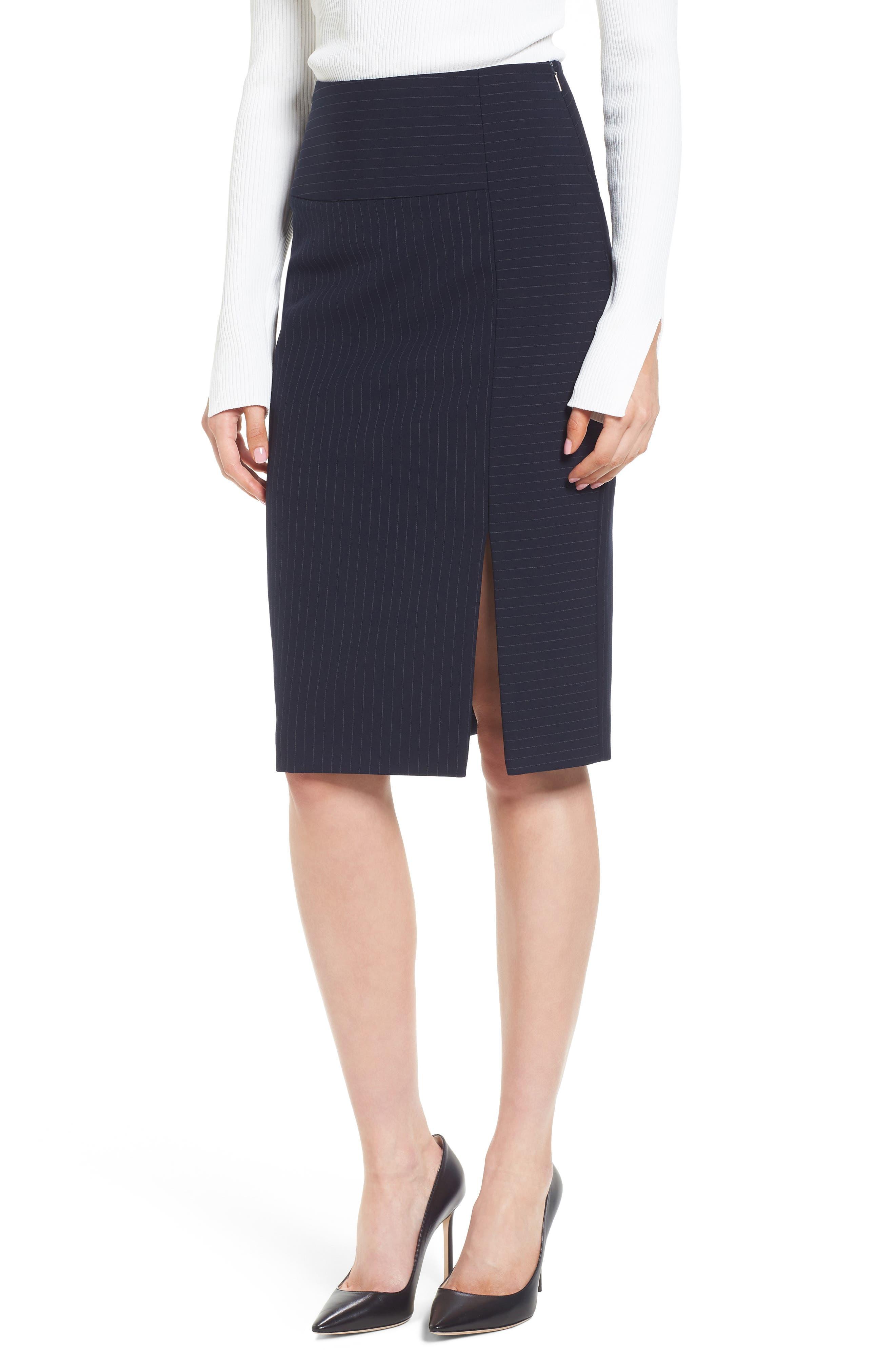 Vispana Pinstripe Suit Skirt,                         Main,                         color, Nautical Fantasy