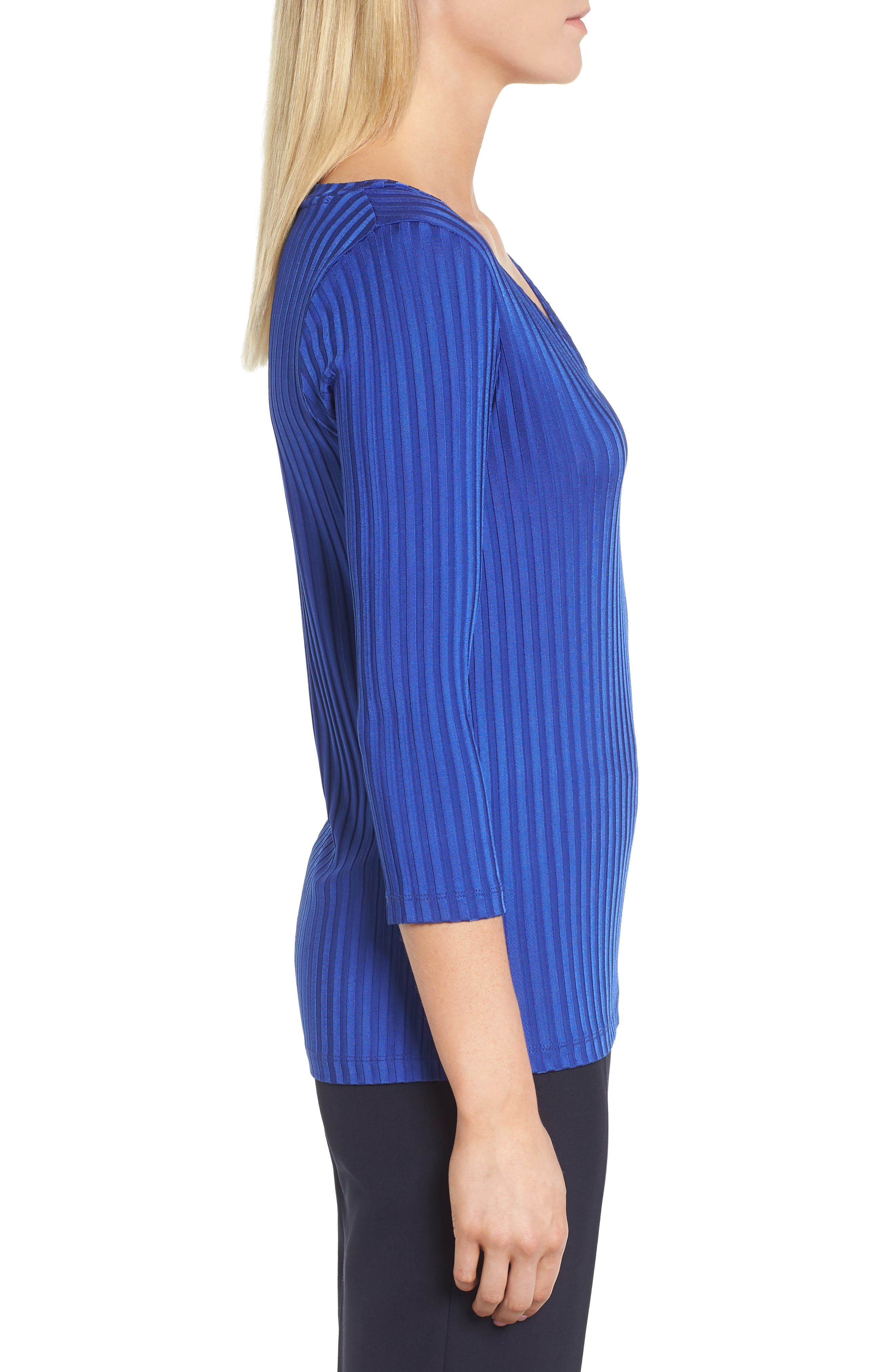 Etrica V-Neck Ribbed Top,                             Alternate thumbnail 3, color,                             Sailor Blue