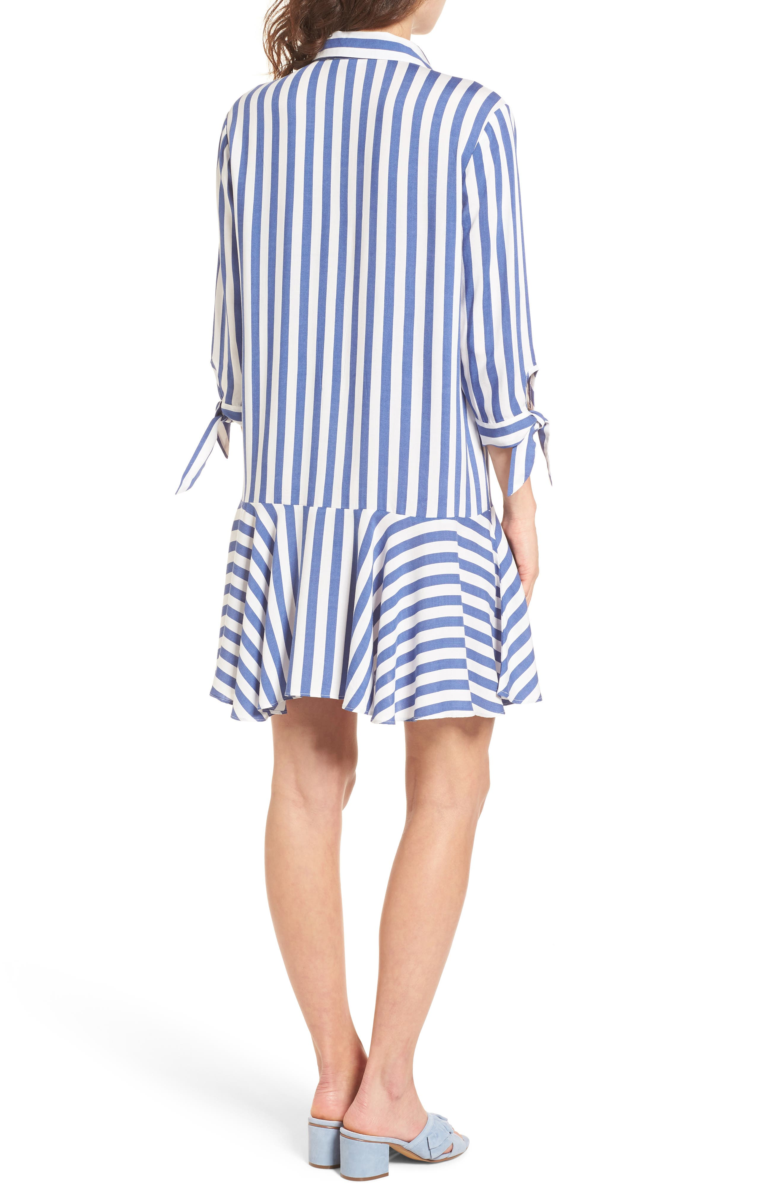 Drop Waist Shirtdress,                             Alternate thumbnail 2, color,                             Blue/ White