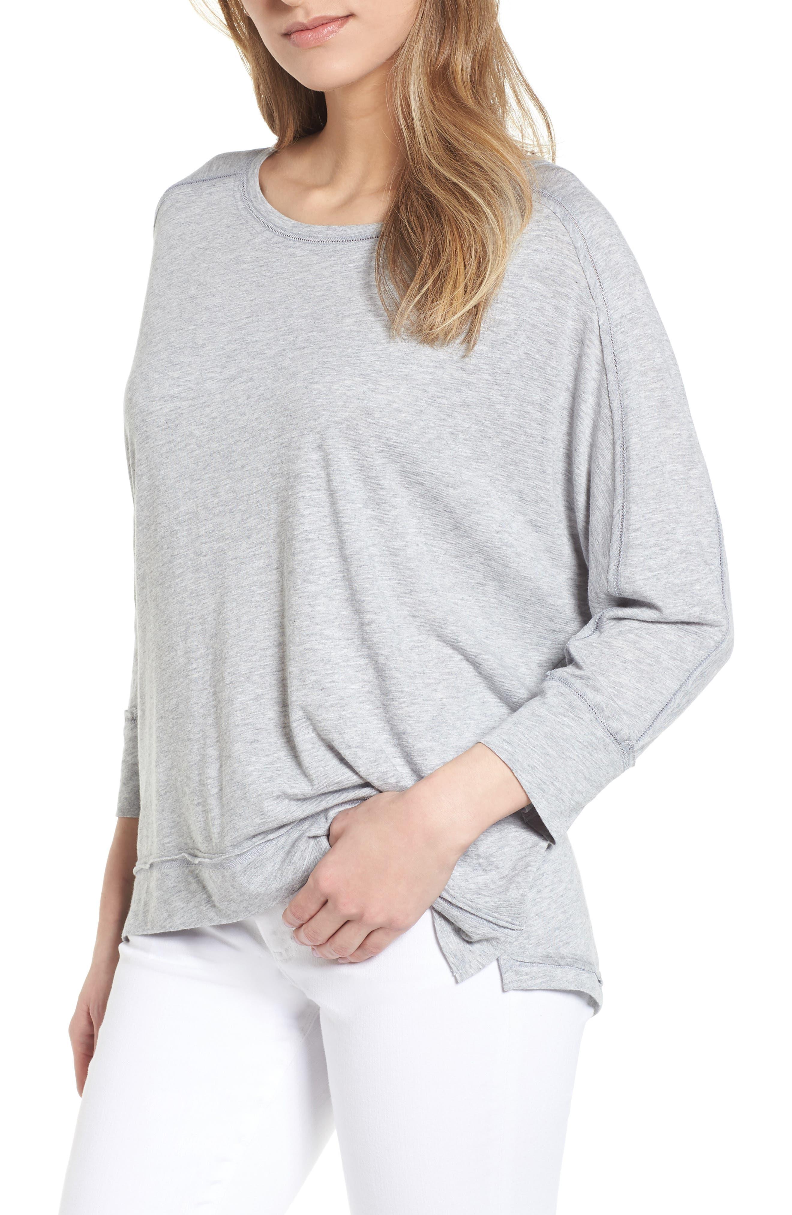 Caslon® Dolman Sleeve Slub Knit Tee (Regular & Petite)