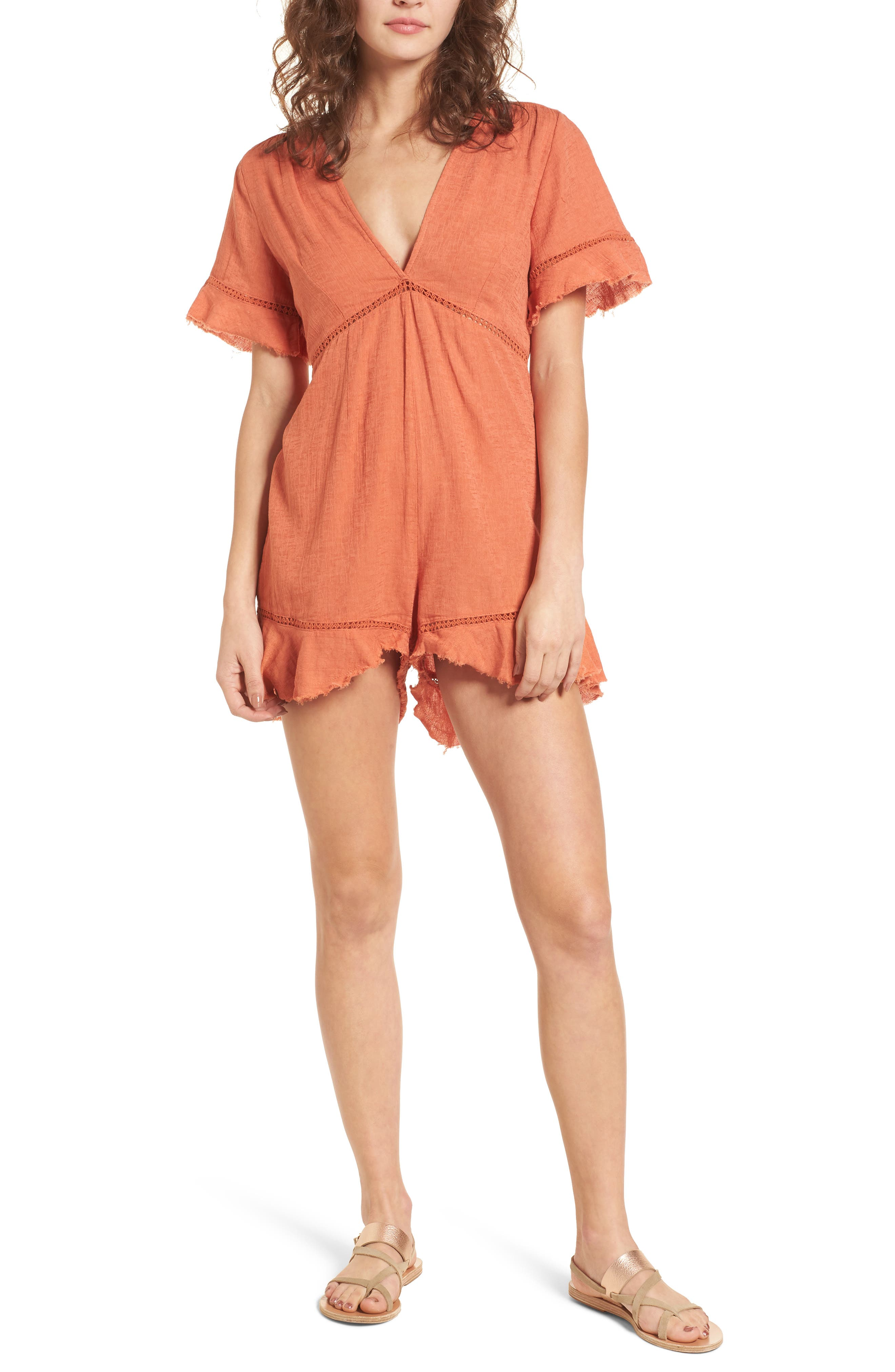 Highway to Highway Fray Edge Romper,                         Main,                         color, Rust