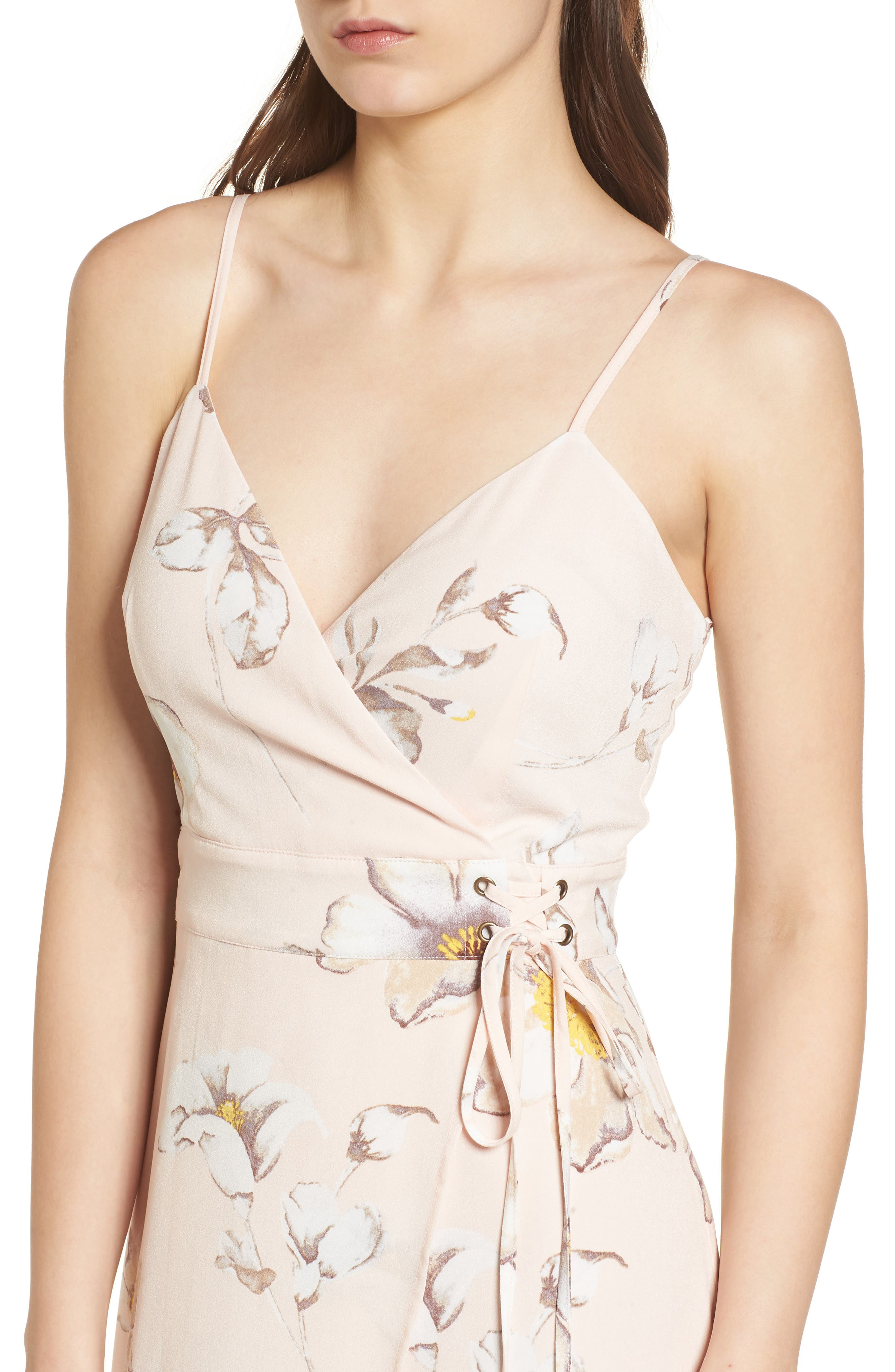 Faux Wrap Midi Dress,                             Alternate thumbnail 5, color,                             Blush Floral