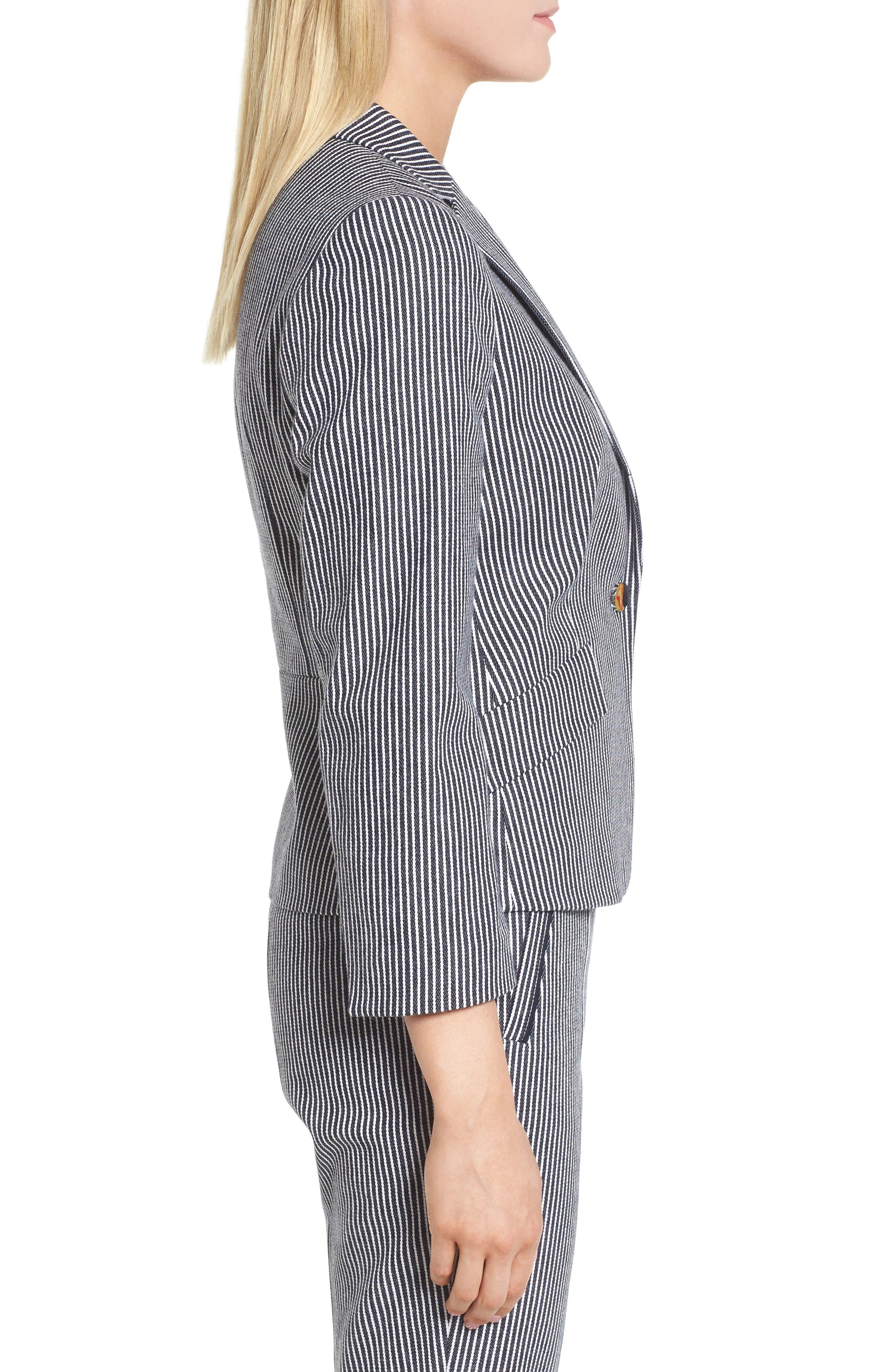 Katemika Stripe Stretch Cotton Suit Jacket,                             Alternate thumbnail 3, color,                             Navy Fantasy