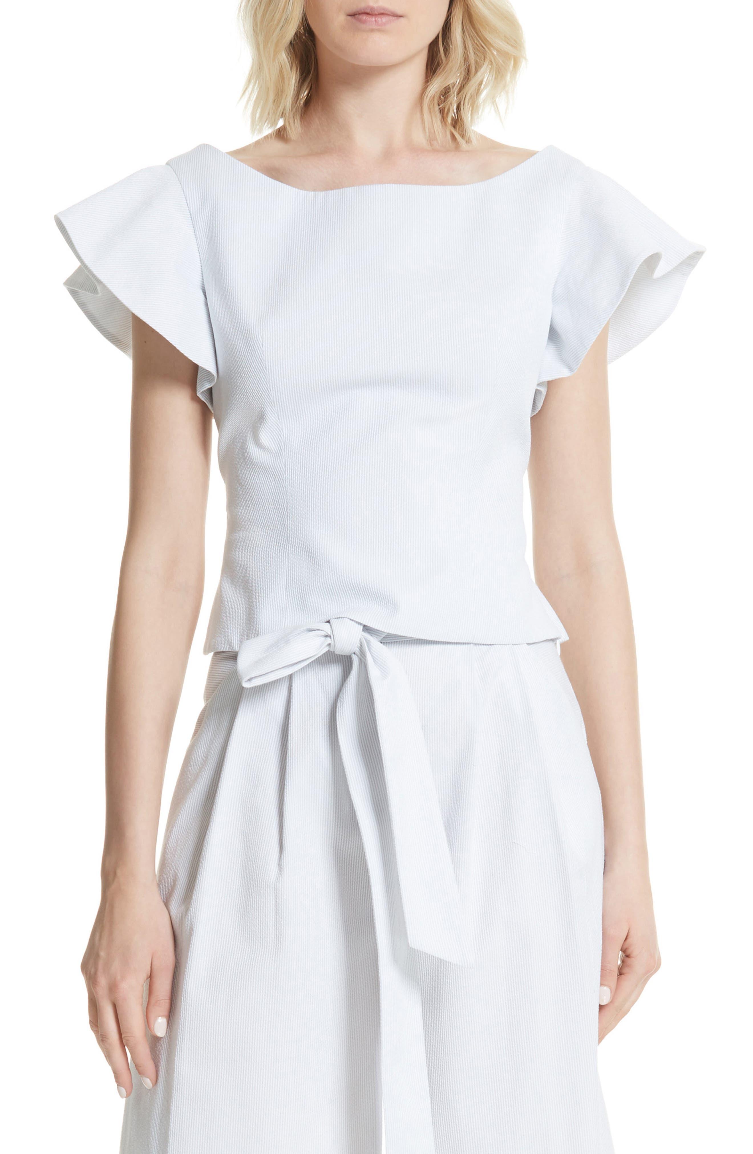 Dakota Ruffle Sleeve Top,                         Main,                         color, Grey