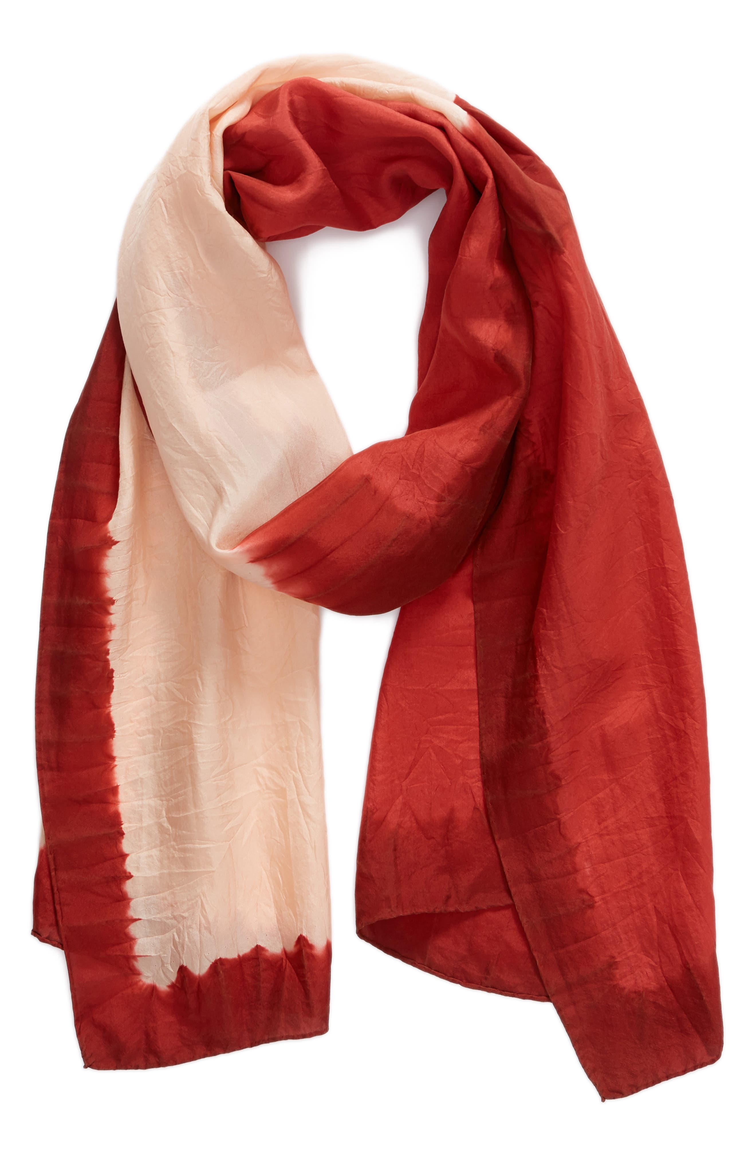 Silk Scarf,                             Alternate thumbnail 2, color,                             Coral Rose
