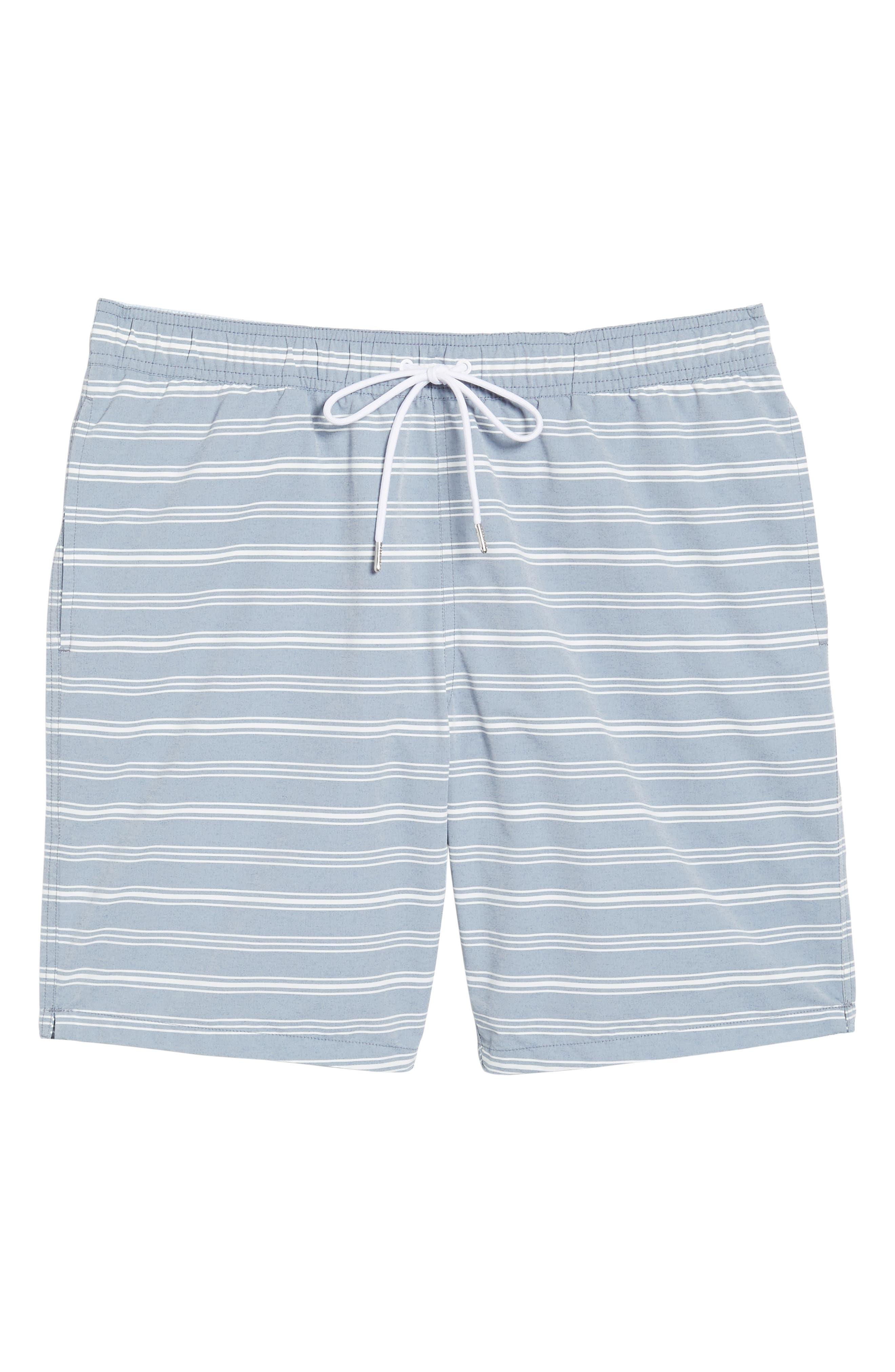 E-Waist 9-Inch Swim Trunks,                             Alternate thumbnail 6, color,                             Swim Stripe Blue/ White