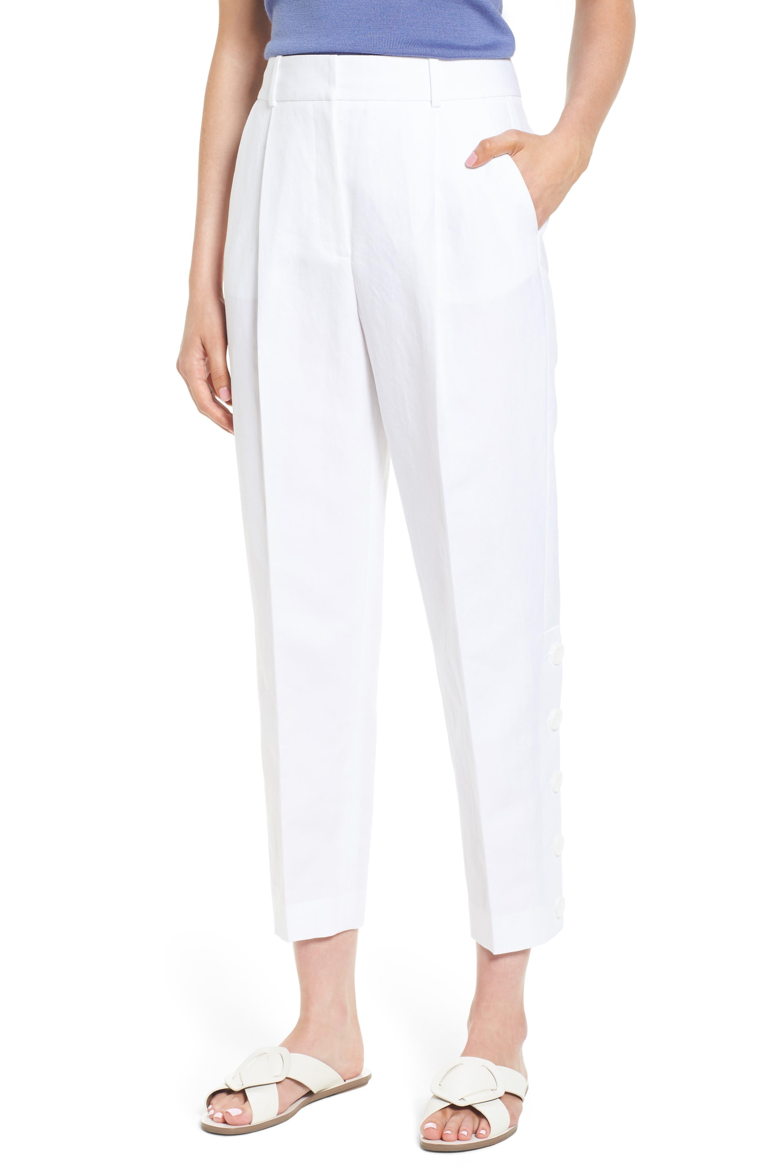 Lewit Button Side Crop Linen Blend Pants