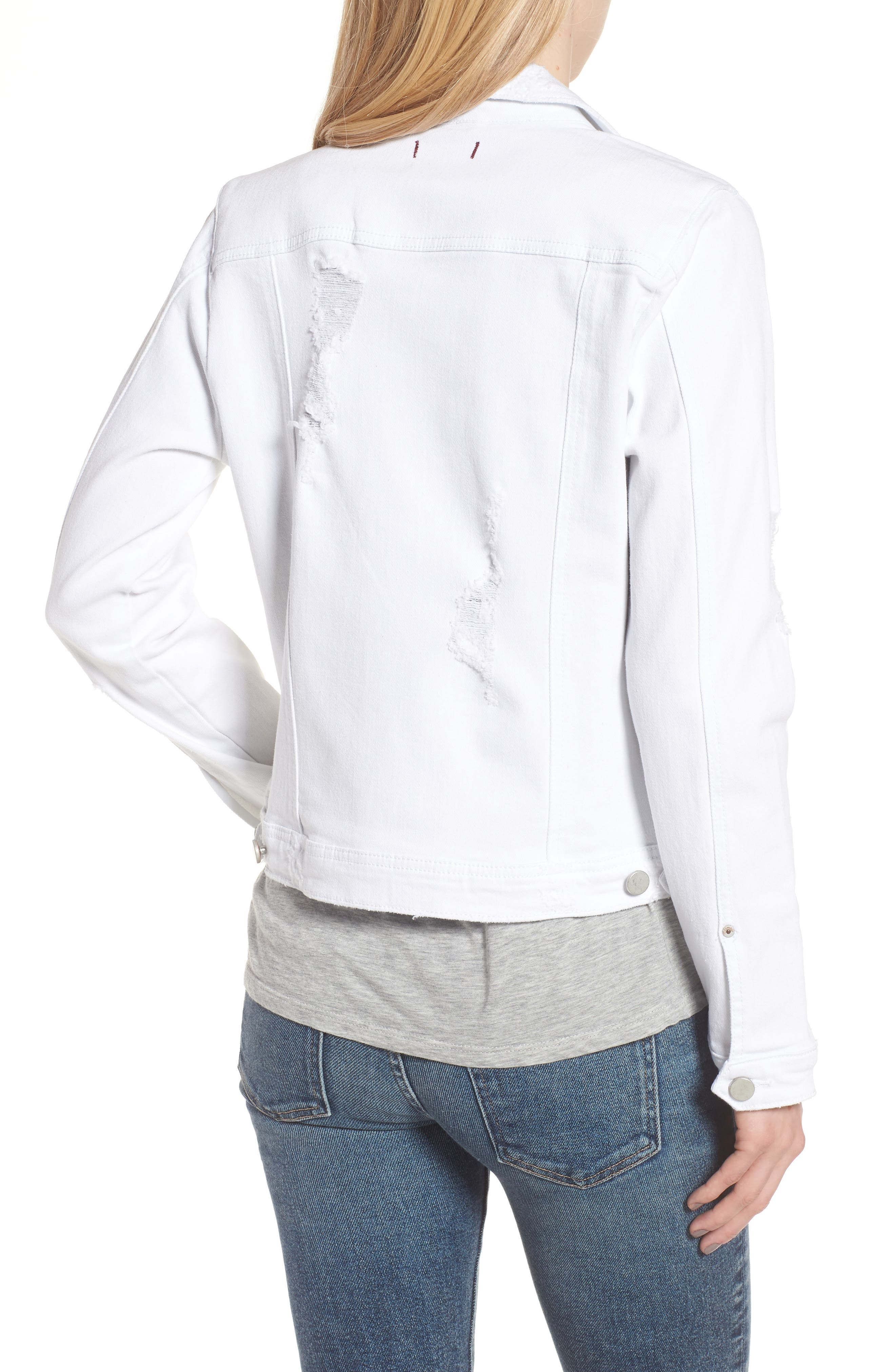 Classic Fit Distressed Denim Jacket,                             Alternate thumbnail 2, color,                             White
