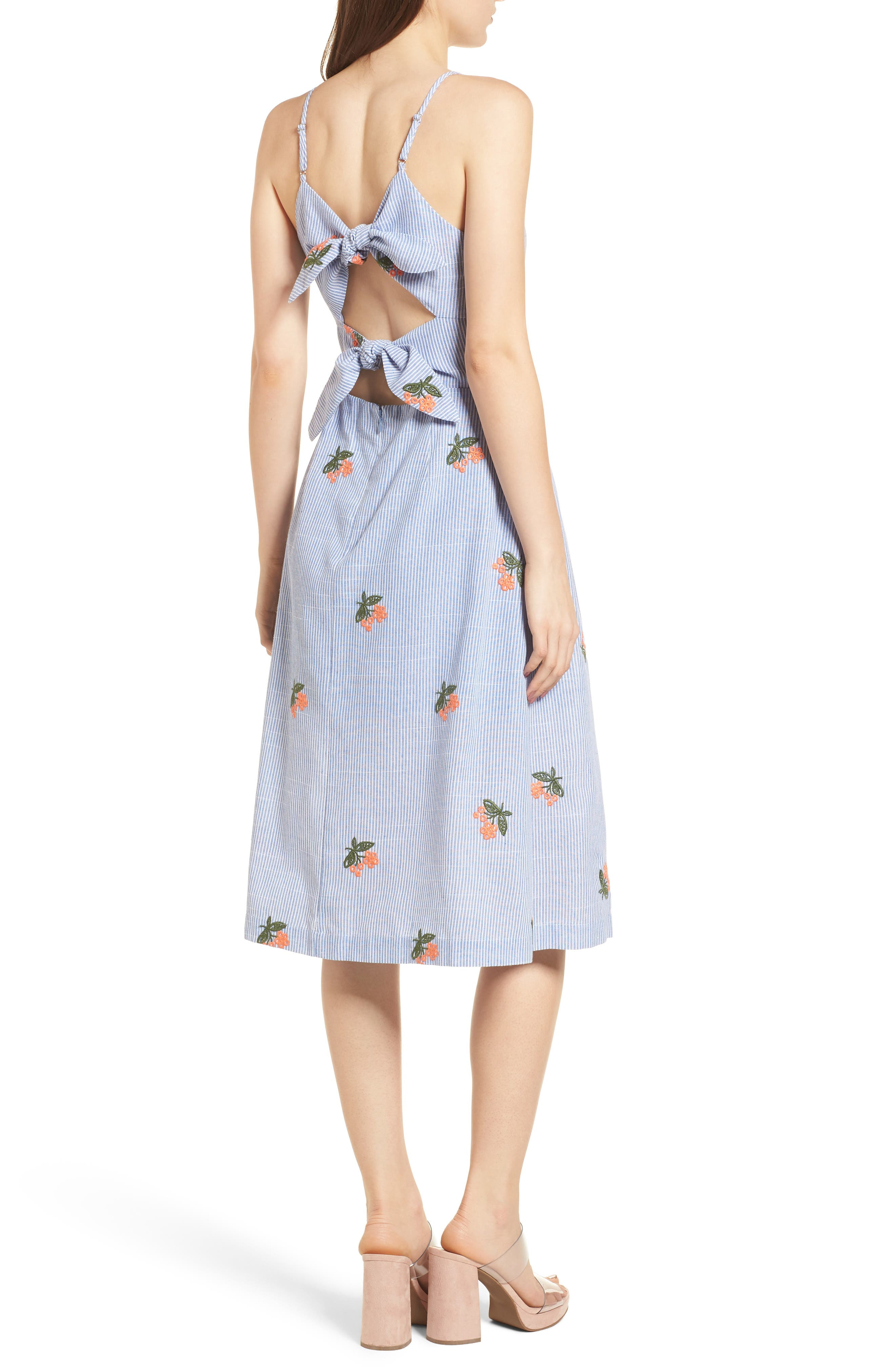 Embroidered Midi Dress,                             Alternate thumbnail 3, color,                             Embroidered Blue Stripe