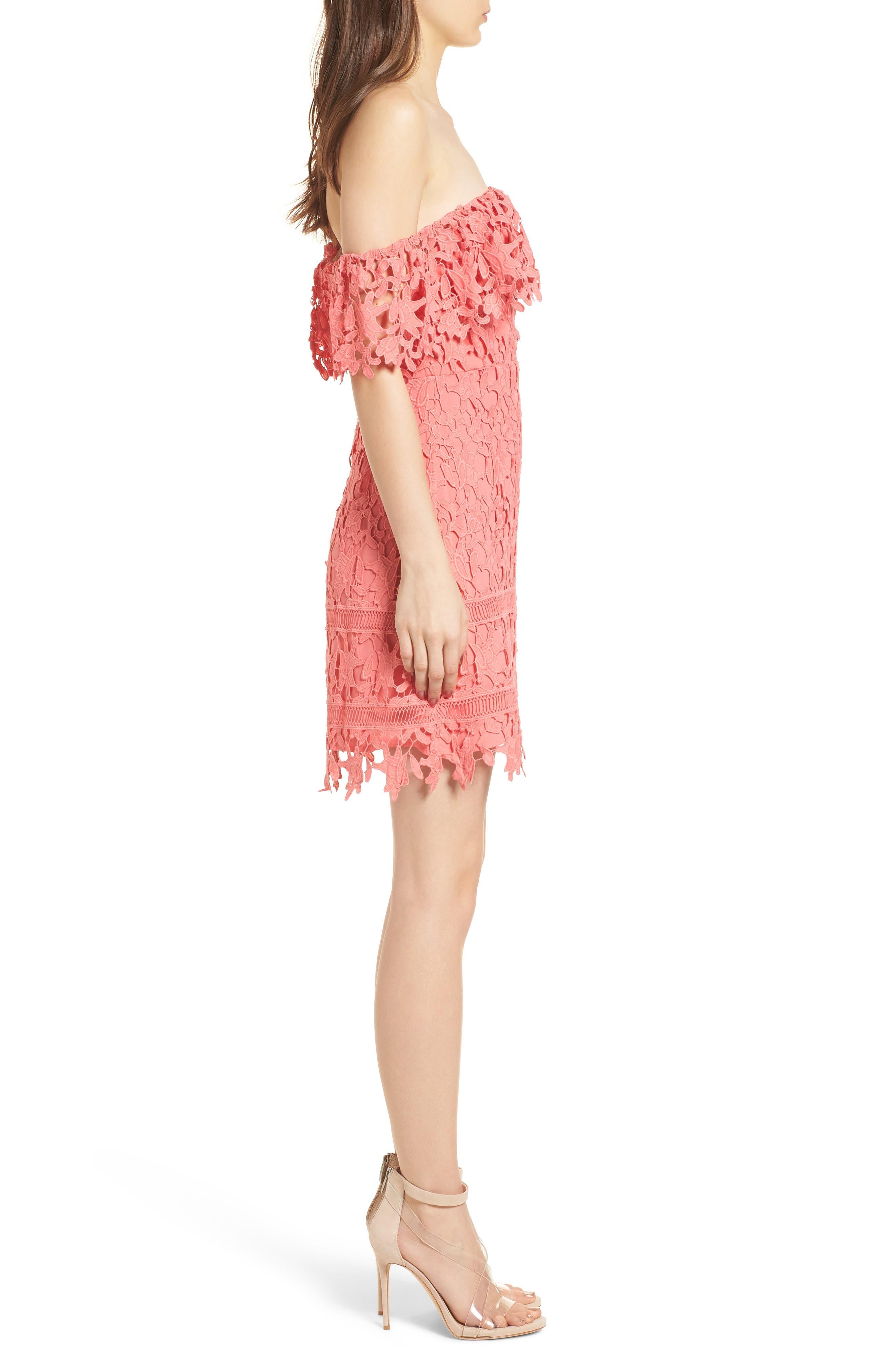 Off the Shoulder Lace Minidress,                             Alternate thumbnail 3, color,                             Coral