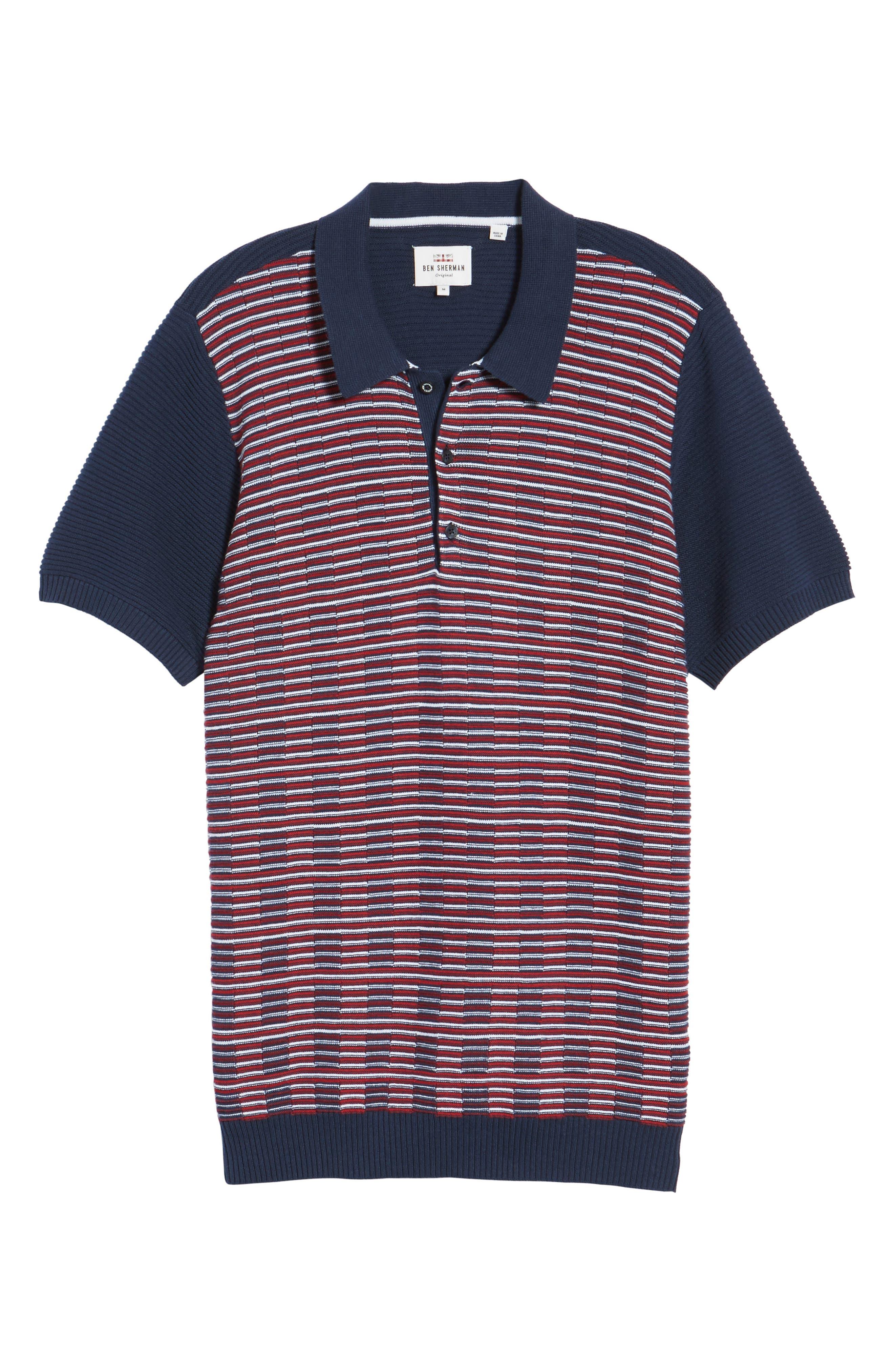Mixed Stripe Polo,                             Alternate thumbnail 6, color,                             Dark Blue
