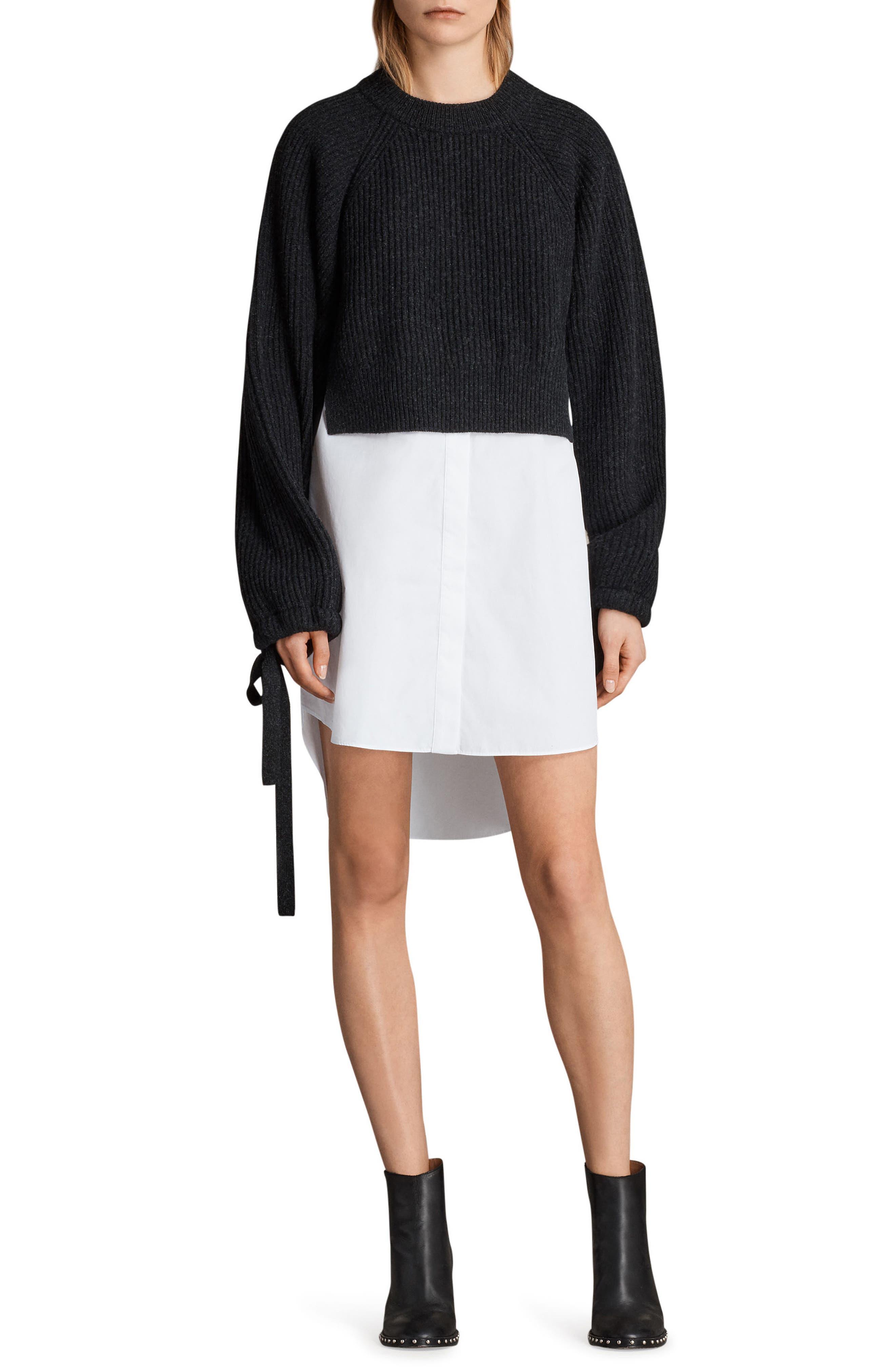 Sura Sweater Dress,                             Main thumbnail 1, color,                             Cinder Black Marl