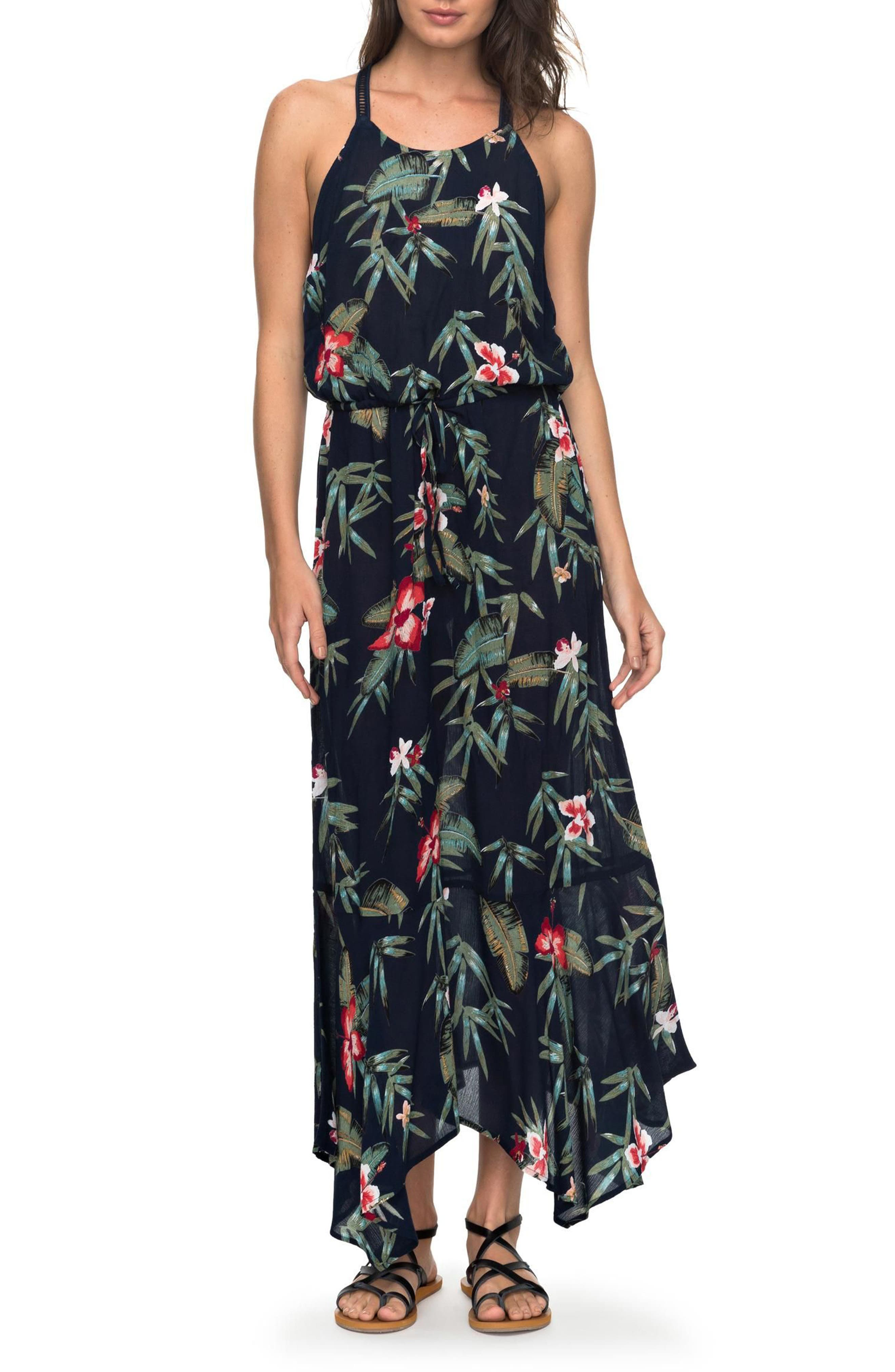 Groove the Physical Floral Maxi Dress,                         Main,                         color, Dress Blue Isle