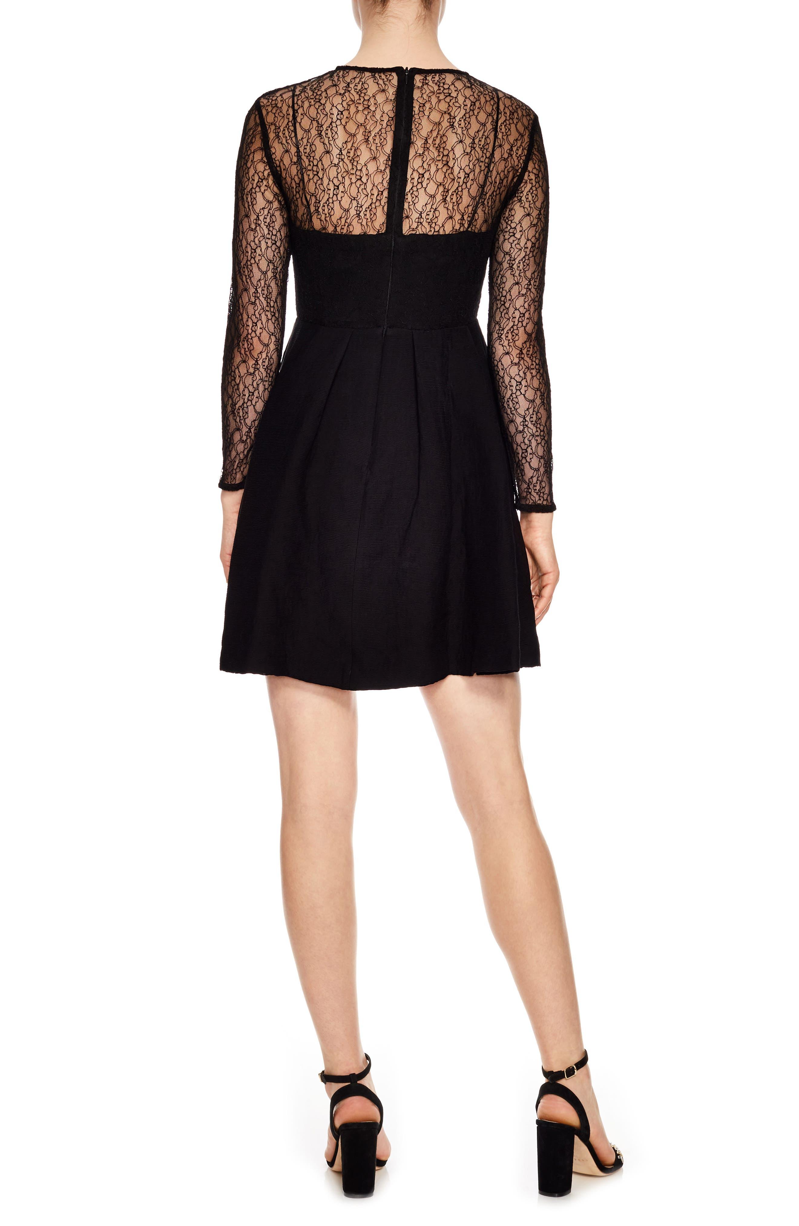 Noir Illusion Lace Mini Dress,                             Alternate thumbnail 2, color,                             Black