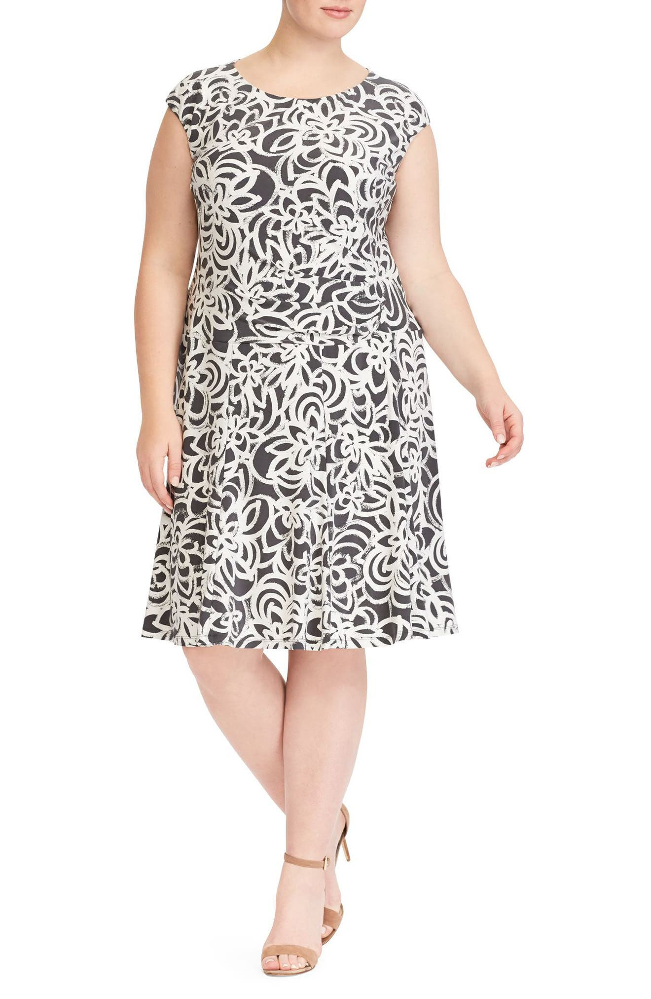 Floral Print Jersey Dress,                         Main,                         color, Slate-Colonial Cream