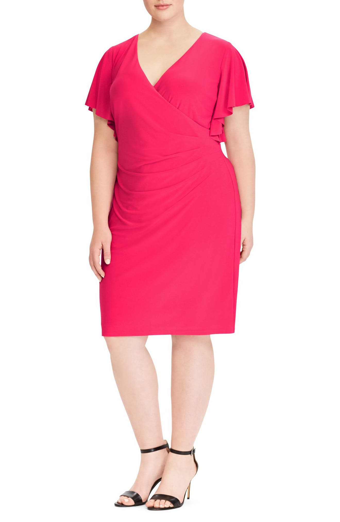 Flutter Sleeve Jersey Dress,                             Main thumbnail 1, color,                             Pink Poppy