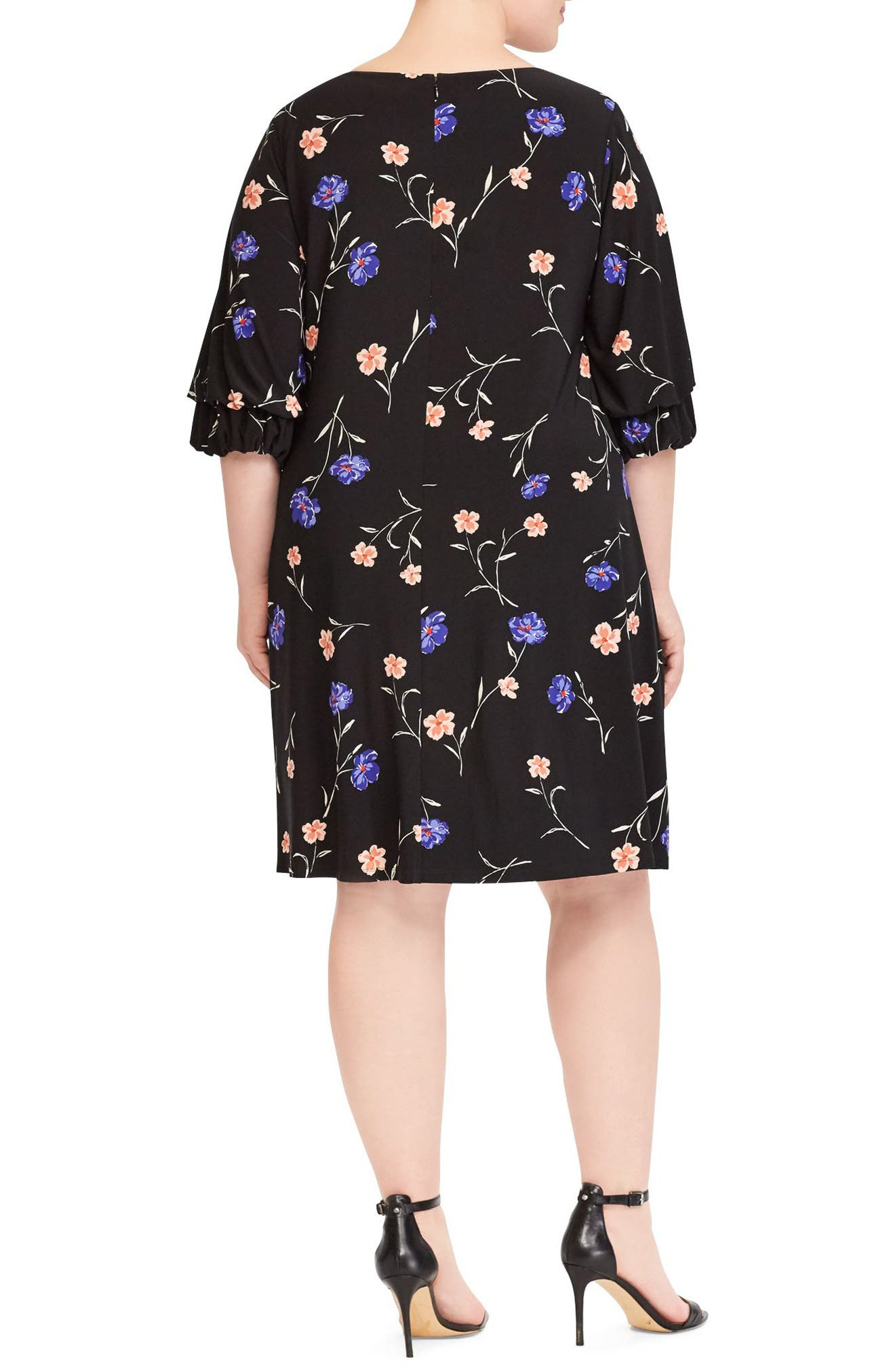 Ruffle Sleeve Floral Print Dress,                             Alternate thumbnail 2, color,                             Black-Blue-Multi