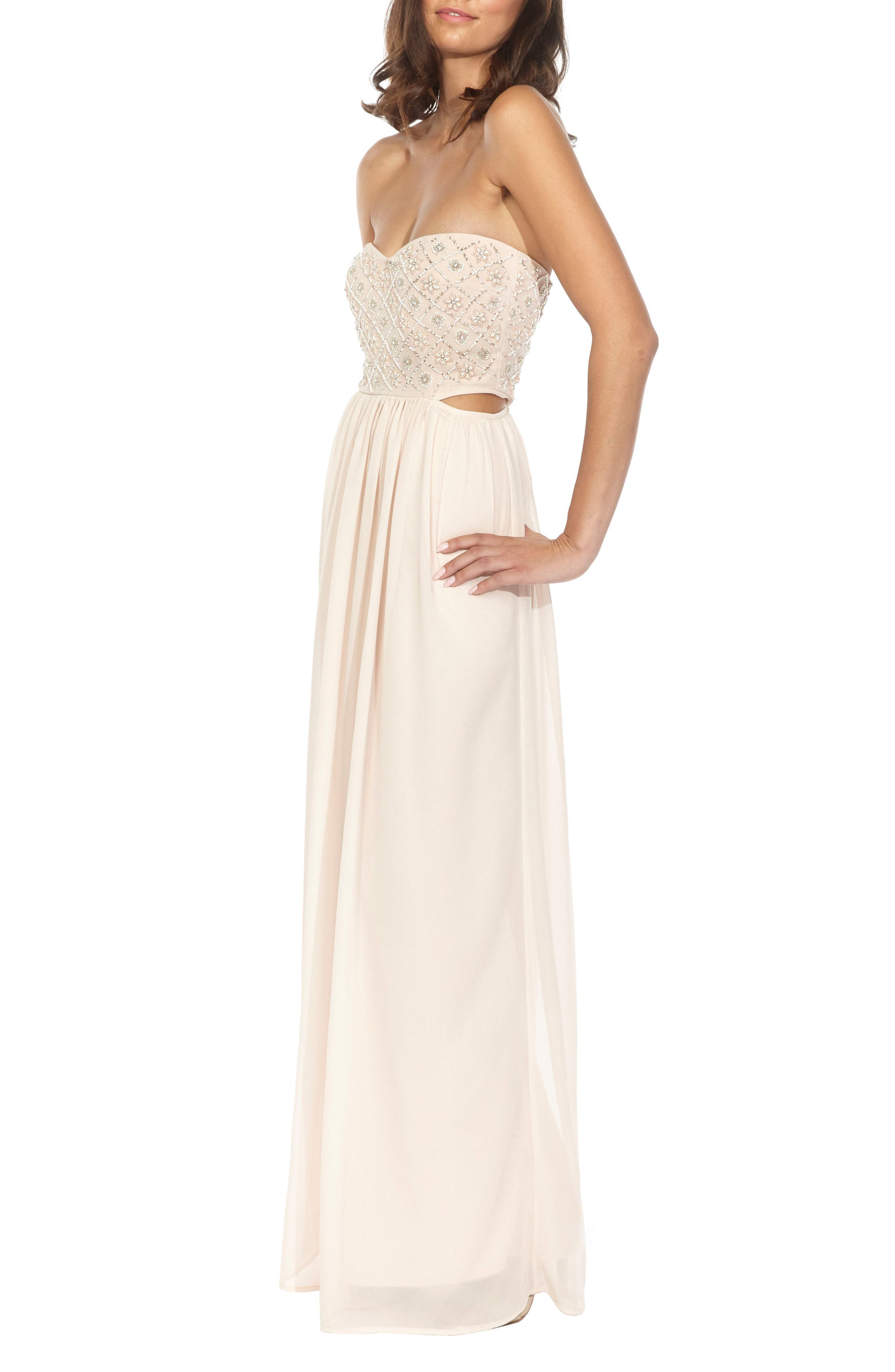 Beaded Bodice Gown,                             Alternate thumbnail 3, color,                             Nude