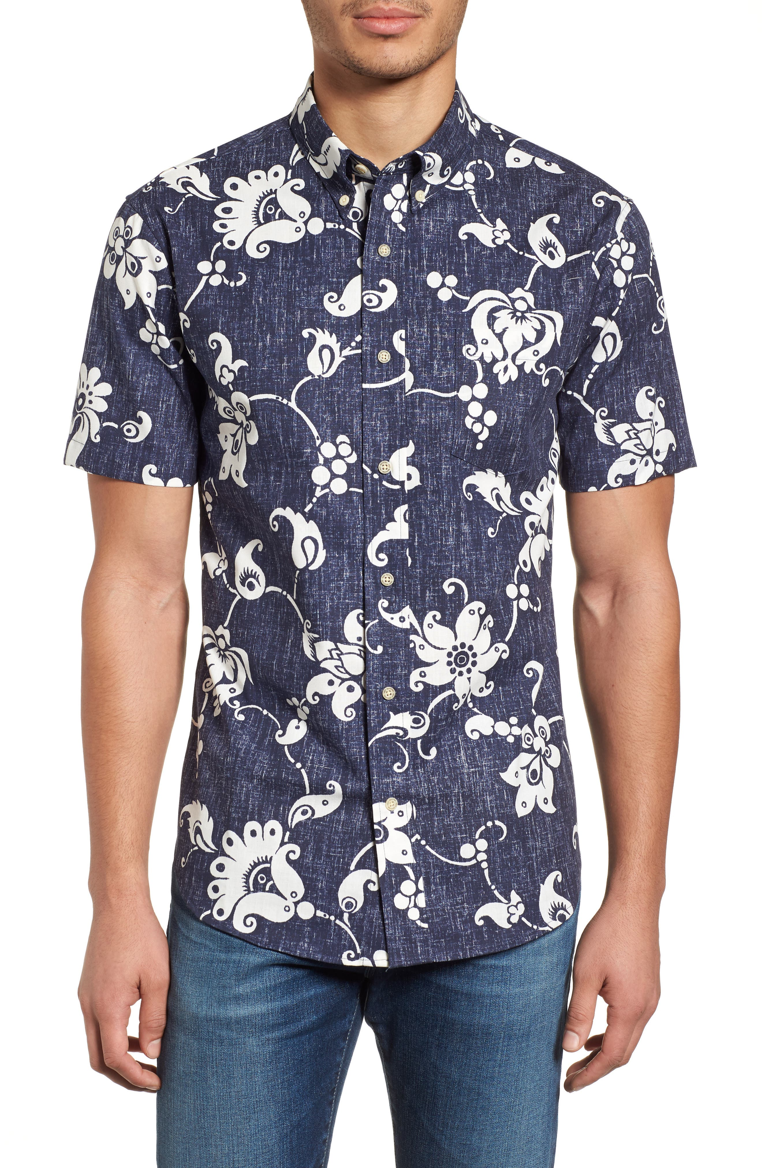Aloha Pareau Tailored Fit Sport Shirt,                             Main thumbnail 1, color,                             Navy