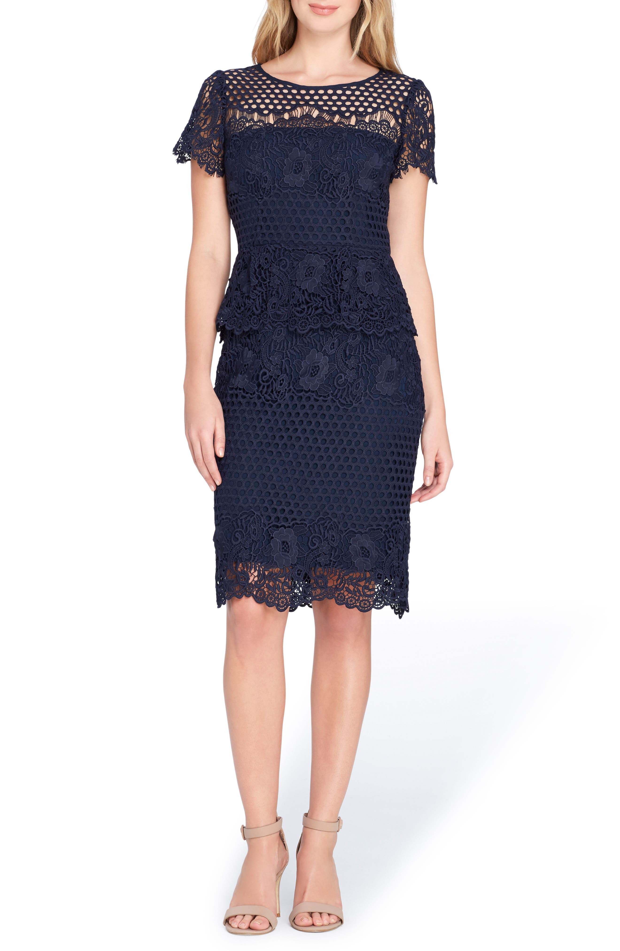 Tahari Lace Peplum Sheath Dress